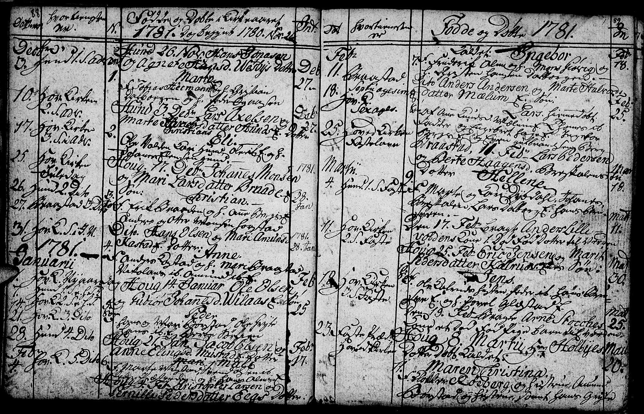 SAH, Vardal prestekontor, H/Ha/Hab/L0001: Klokkerbok nr. 1, 1771-1790, s. 88-89