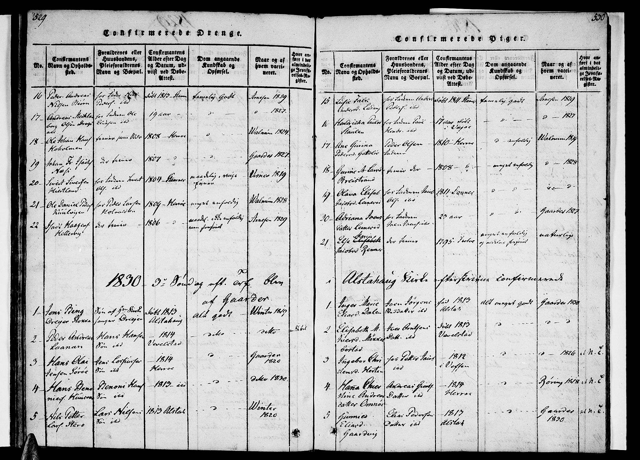 SAT, Ministerialprotokoller, klokkerbøker og fødselsregistre - Nordland, 830/L0445: Ministerialbok nr. 830A09, 1820-1830, s. 529-530