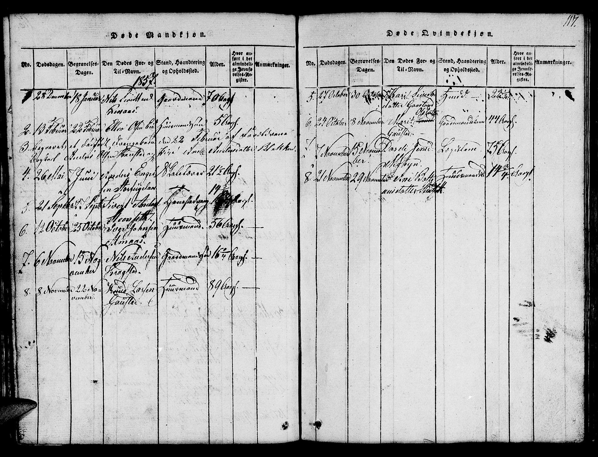 SAT, Ministerialprotokoller, klokkerbøker og fødselsregistre - Sør-Trøndelag, 694/L1130: Klokkerbok nr. 694C02, 1816-1857, s. 117