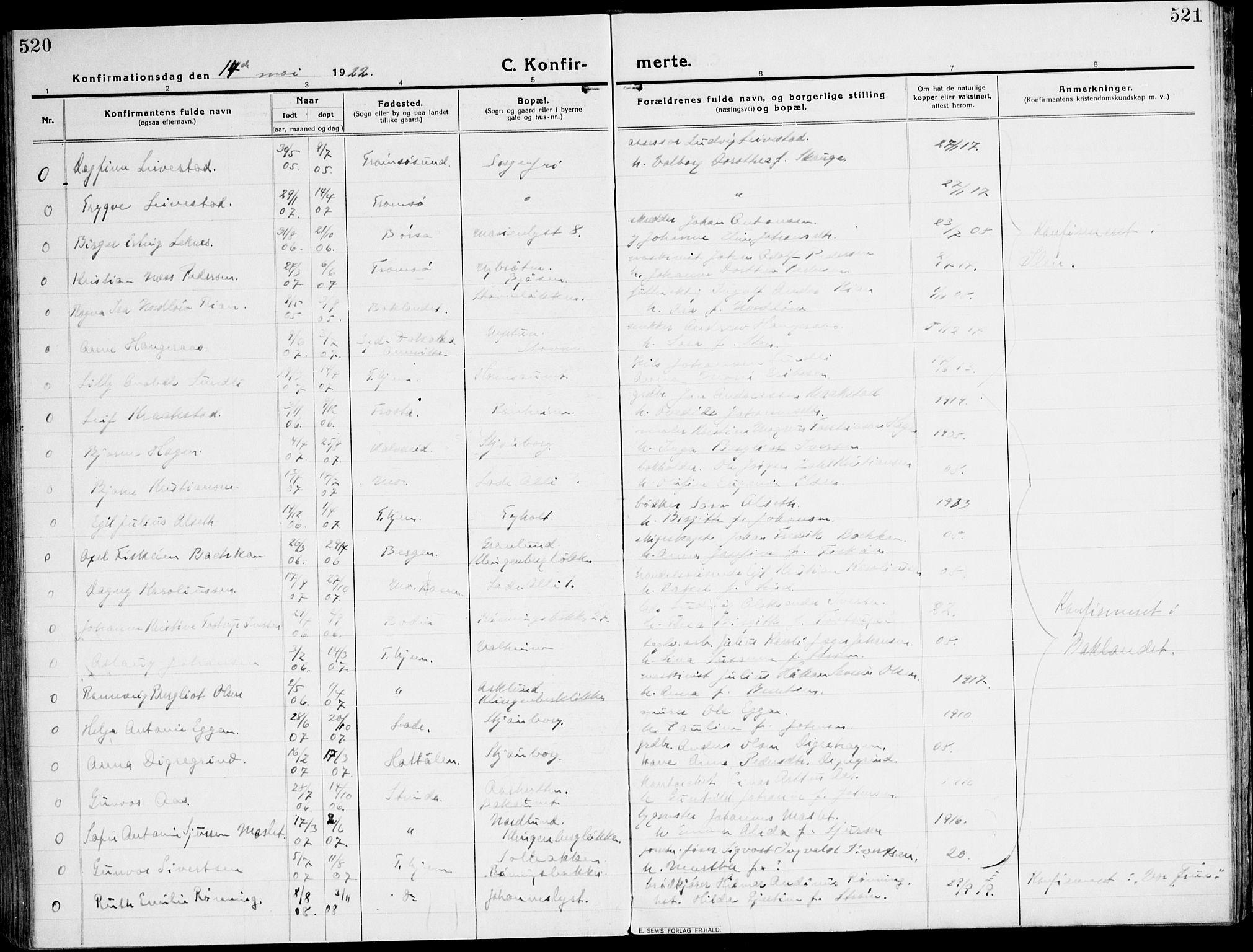 SAT, Ministerialprotokoller, klokkerbøker og fødselsregistre - Sør-Trøndelag, 607/L0321: Ministerialbok nr. 607A05, 1916-1935, s. 520-521