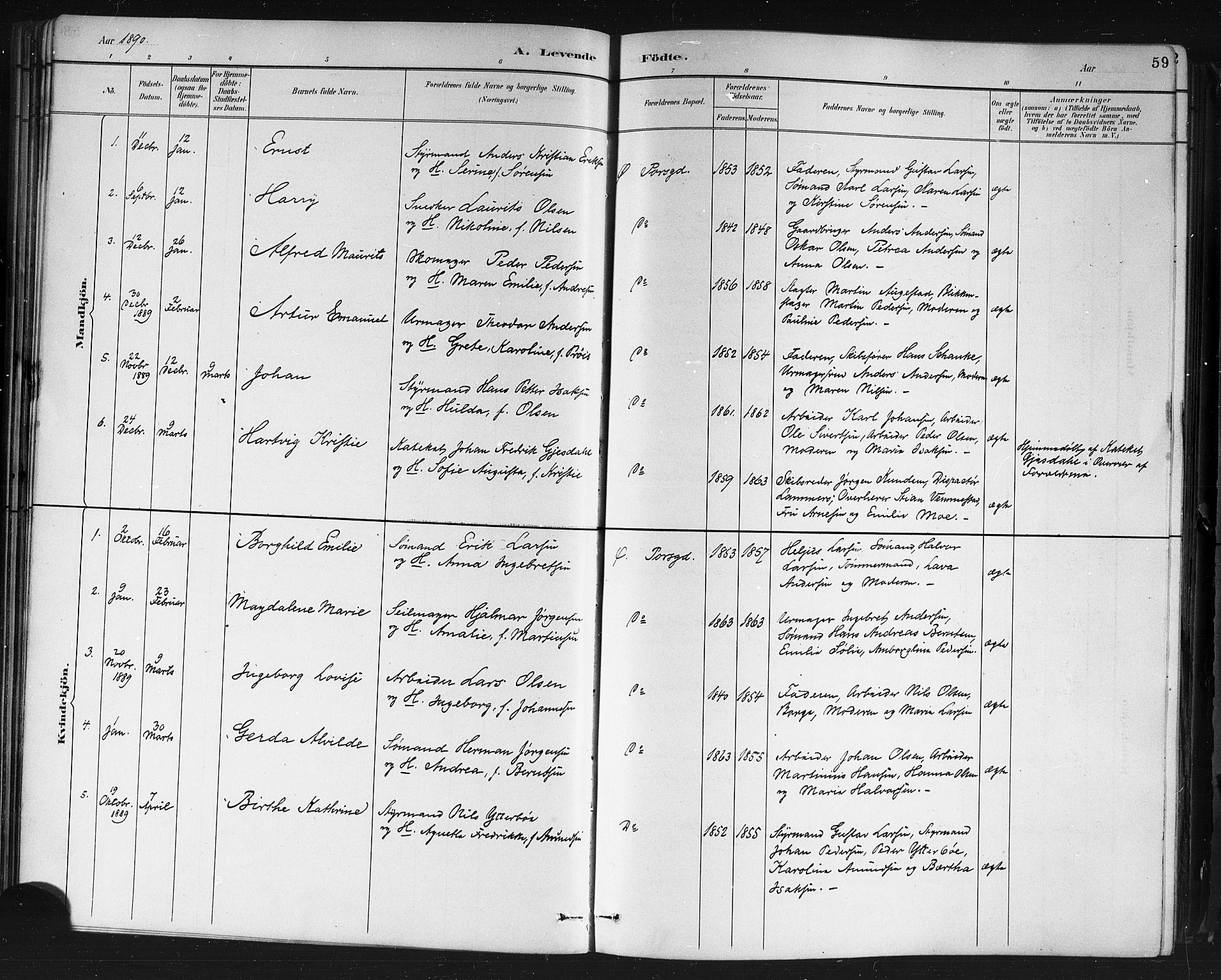 SAKO, Porsgrunn kirkebøker , G/Gb/L0005: Klokkerbok nr. II 5, 1883-1915, s. 59