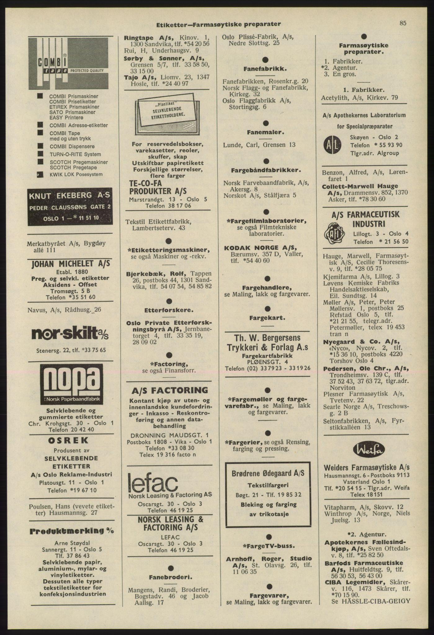PUBL, Kristiania/Oslo adressebok, 1975-1976, s. 85
