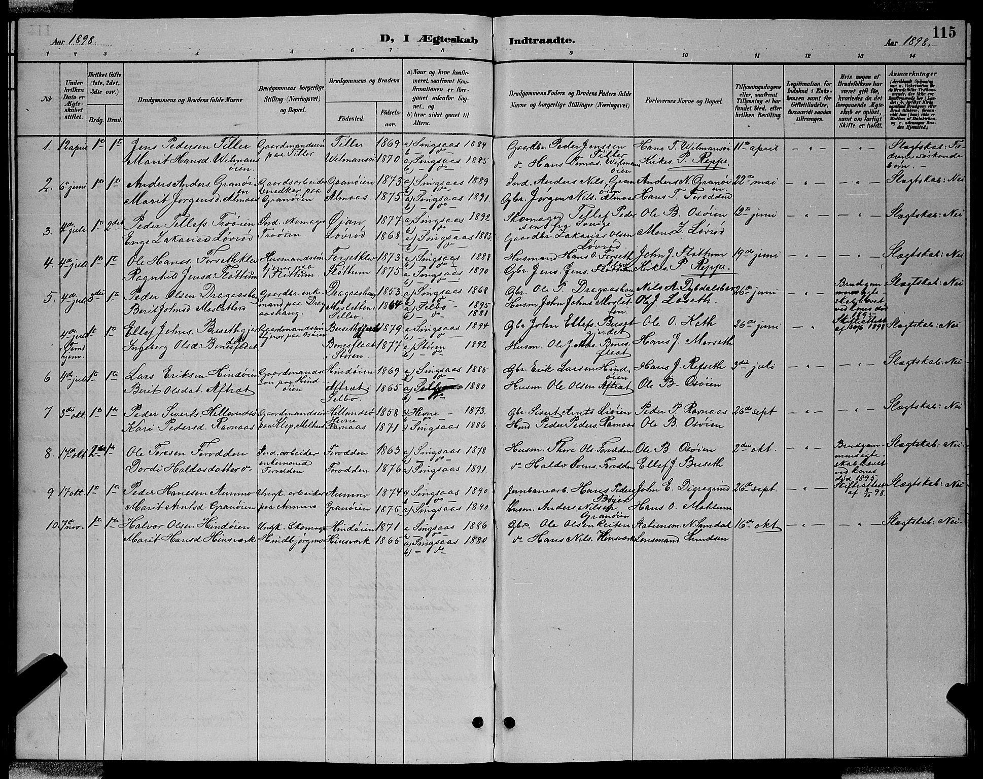 SAT, Ministerialprotokoller, klokkerbøker og fødselsregistre - Sør-Trøndelag, 688/L1028: Klokkerbok nr. 688C03, 1889-1899, s. 115