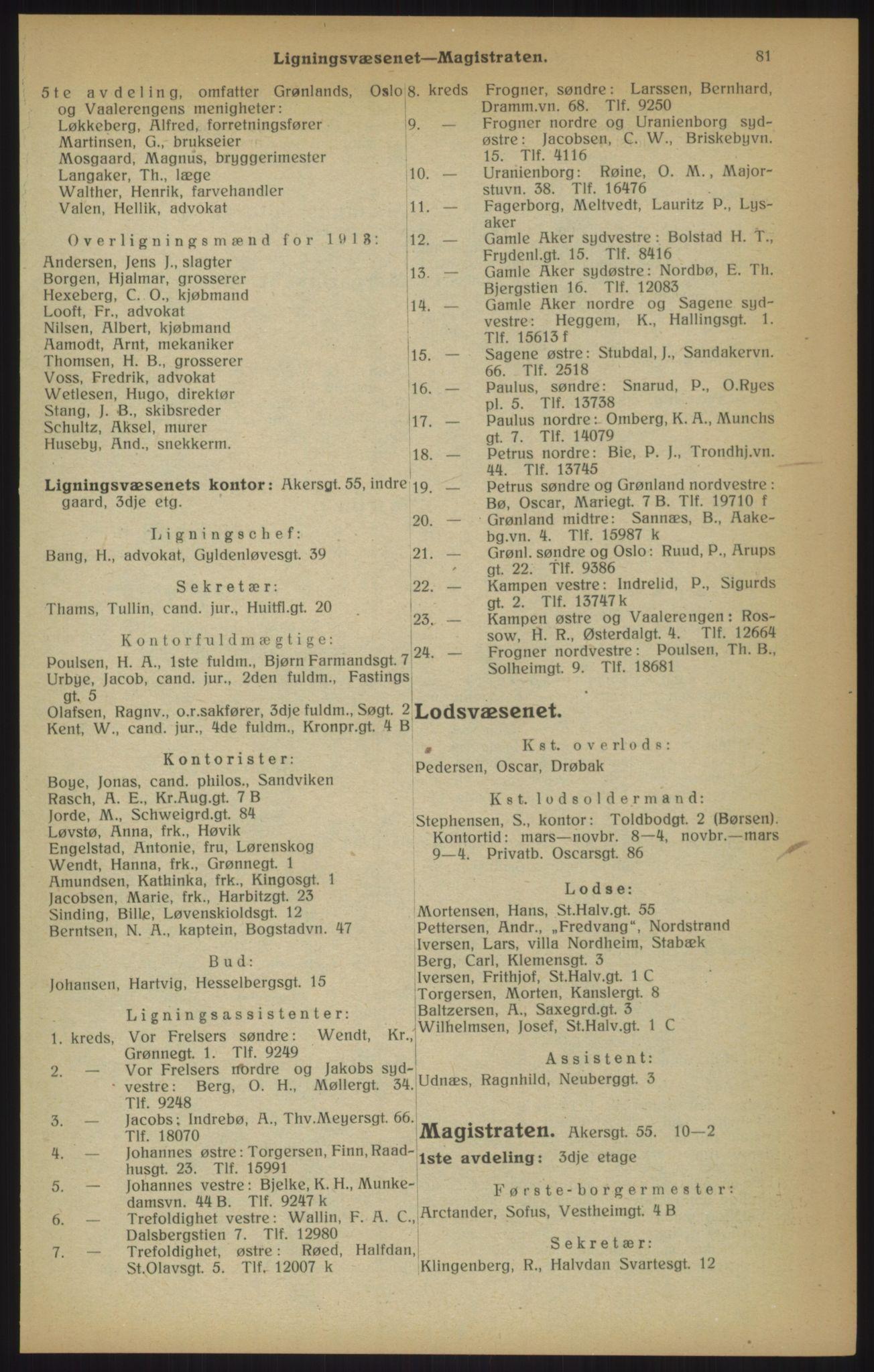 RA, Kristiania adressebok (publikasjon)*, 1915, s. 81