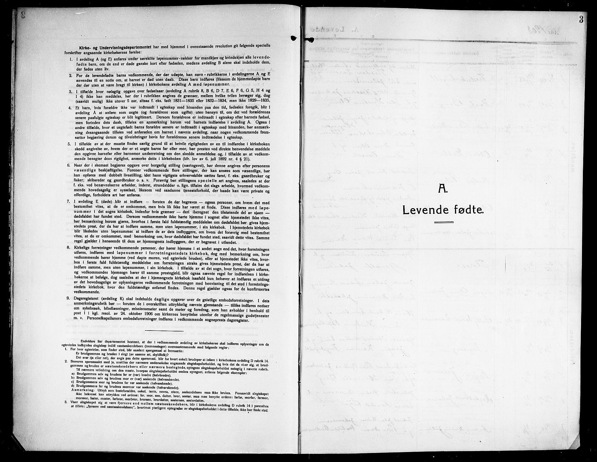 SAT, Ministerialprotokoller, klokkerbøker og fødselsregistre - Nordland, 843/L0639: Klokkerbok nr. 843C08, 1908-1924, s. 3