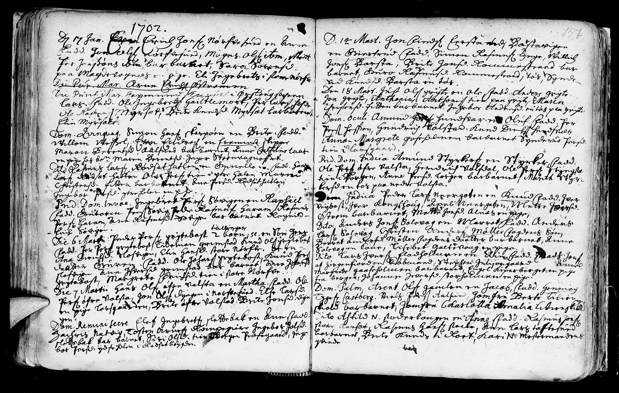 SAT, Ministerialprotokoller, klokkerbøker og fødselsregistre - Møre og Romsdal, 528/L0390: Ministerialbok nr. 528A01, 1698-1739, s. 156-157