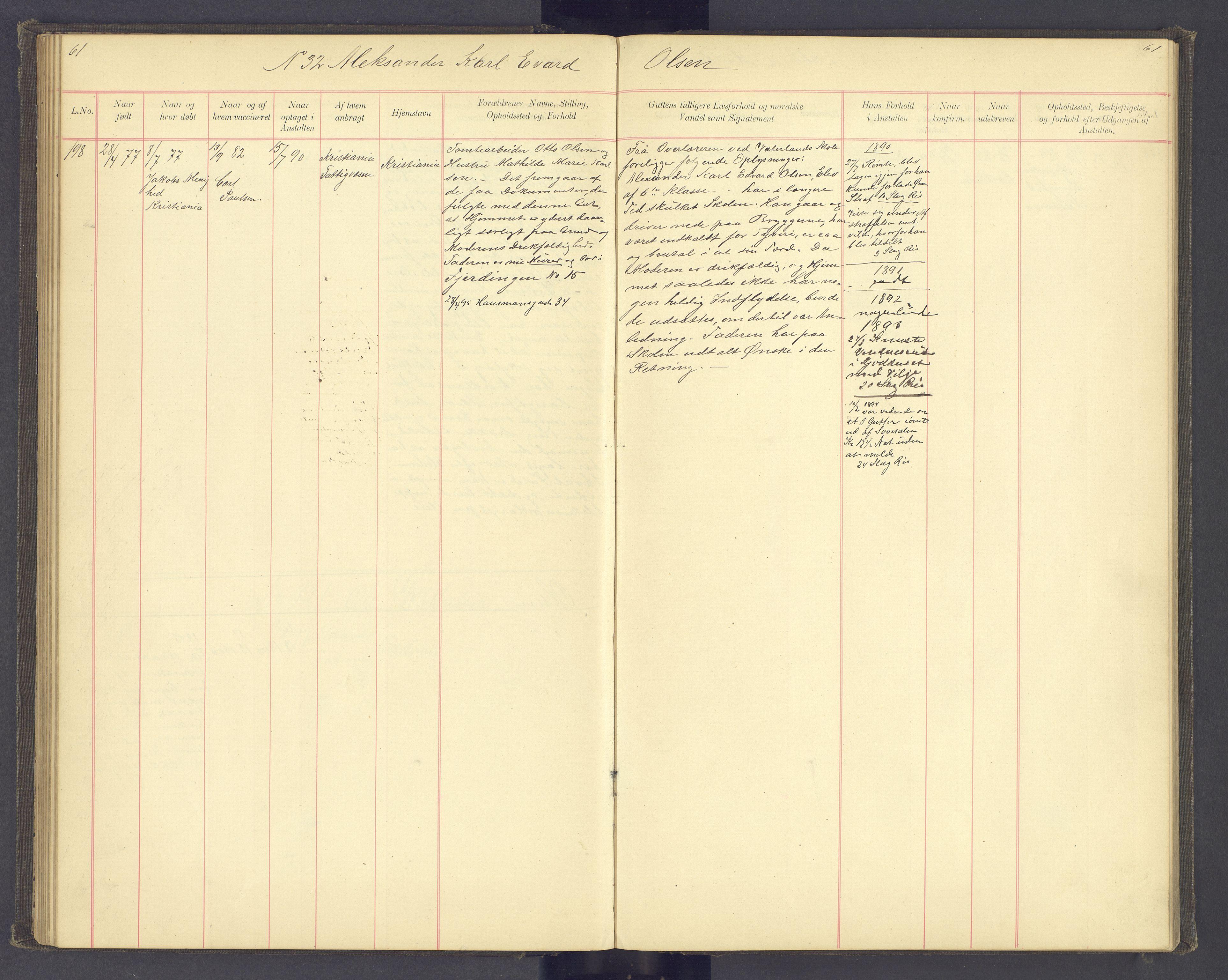 SAH, Toftes Gave, F/Fc/L0004: Elevprotokoll, 1885-1897, s. 61