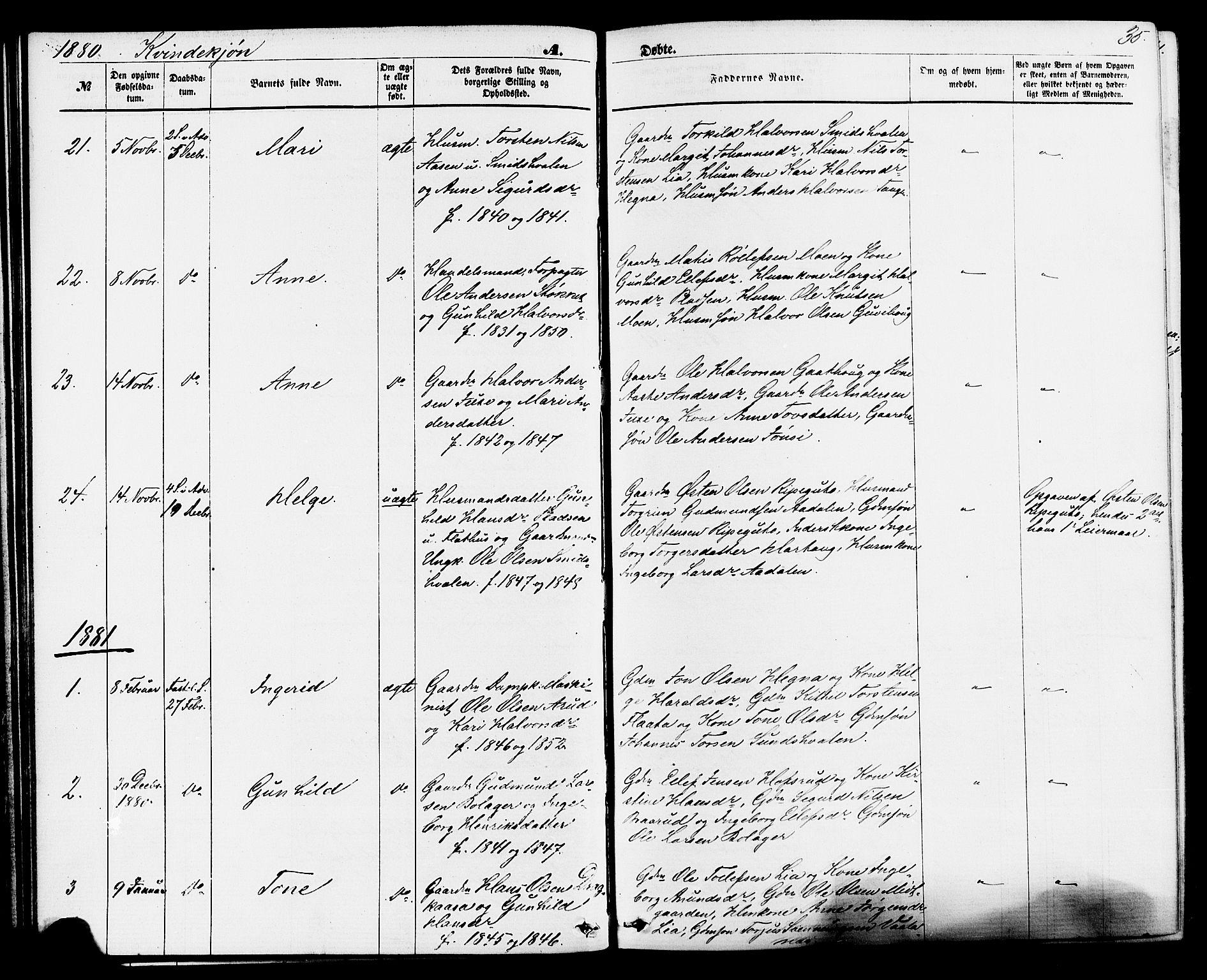 SAKO, Sauherad kirkebøker, F/Fa/L0008: Ministerialbok nr. I 8, 1873-1886, s. 35