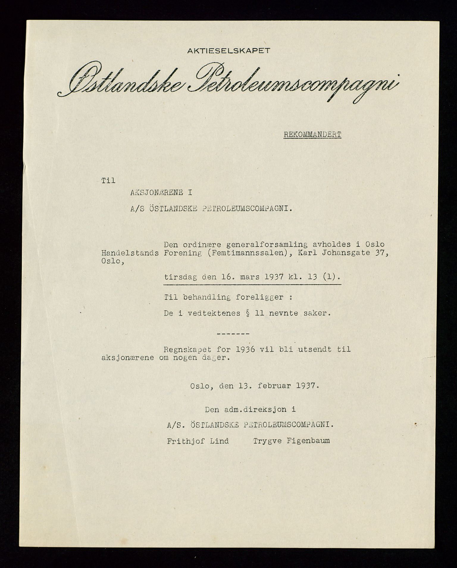 SAST, PA 1534 - Østlandske Petroleumscompagni A/S, A/Aa/L0002: Generalforsamlinger., 1937, s. 2