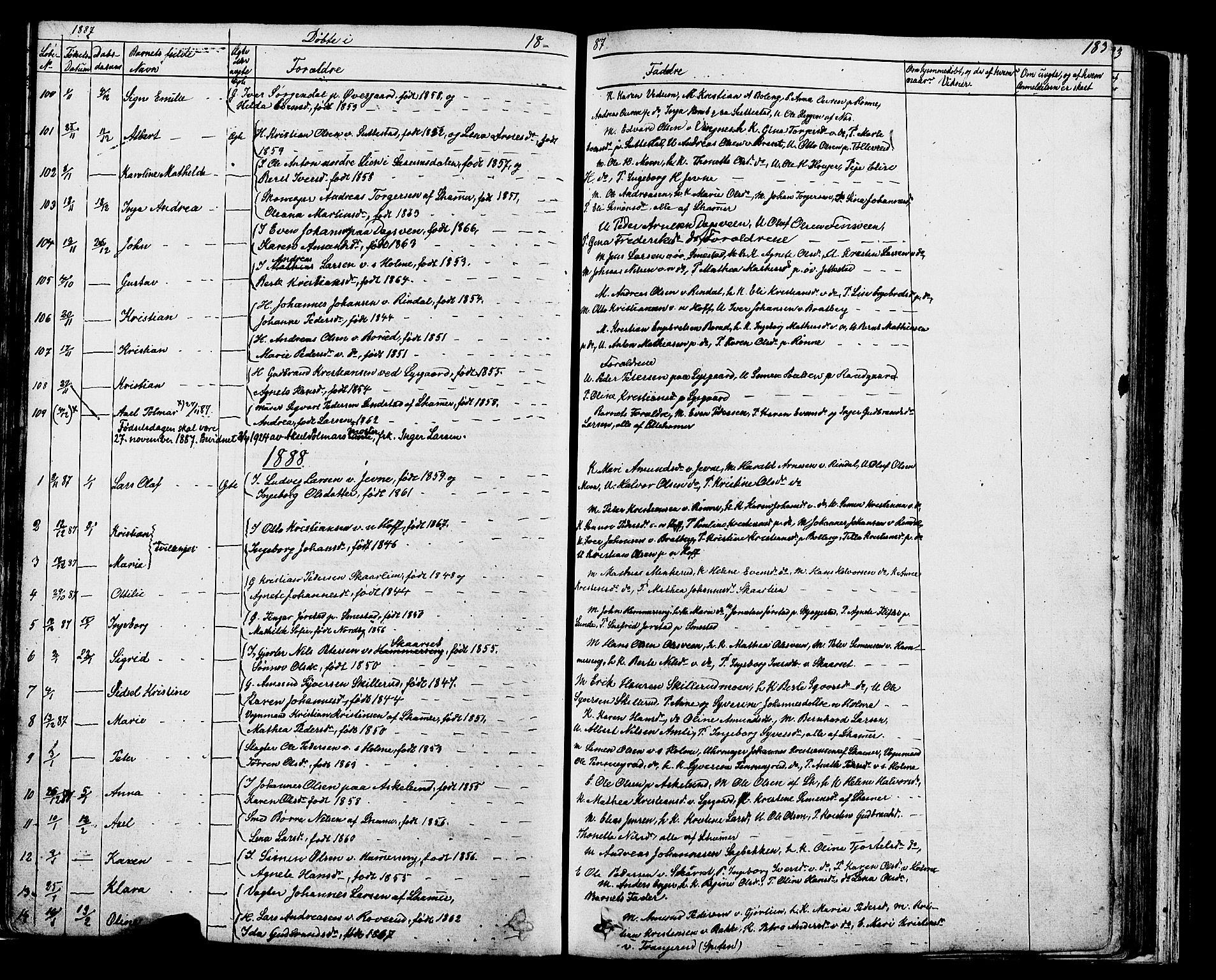 SAH, Fåberg prestekontor, Klokkerbok nr. 7, 1856-1891, s. 182-183