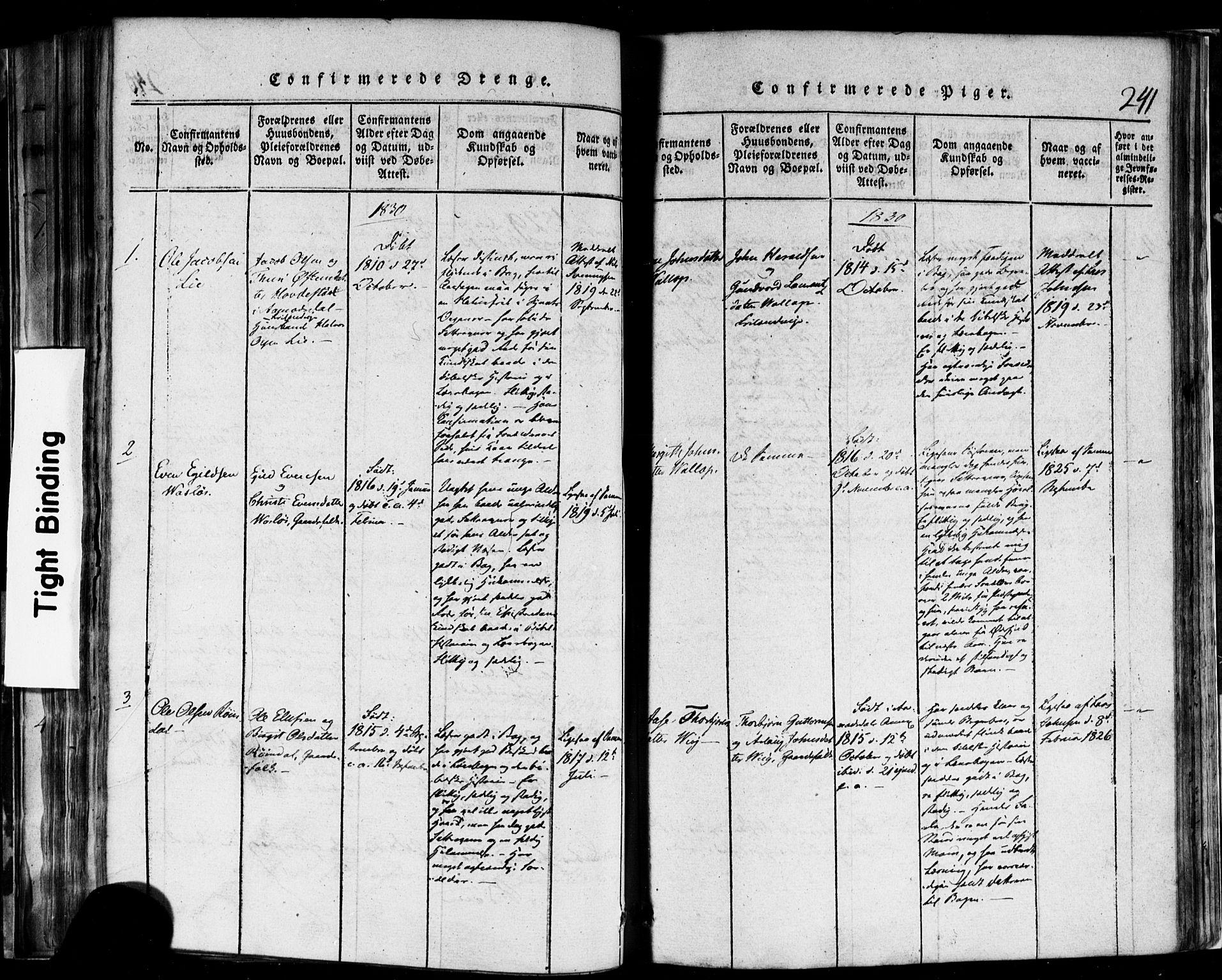SAKO, Rauland kirkebøker, F/Fa/L0002: Ministerialbok nr. 2, 1815-1860, s. 241