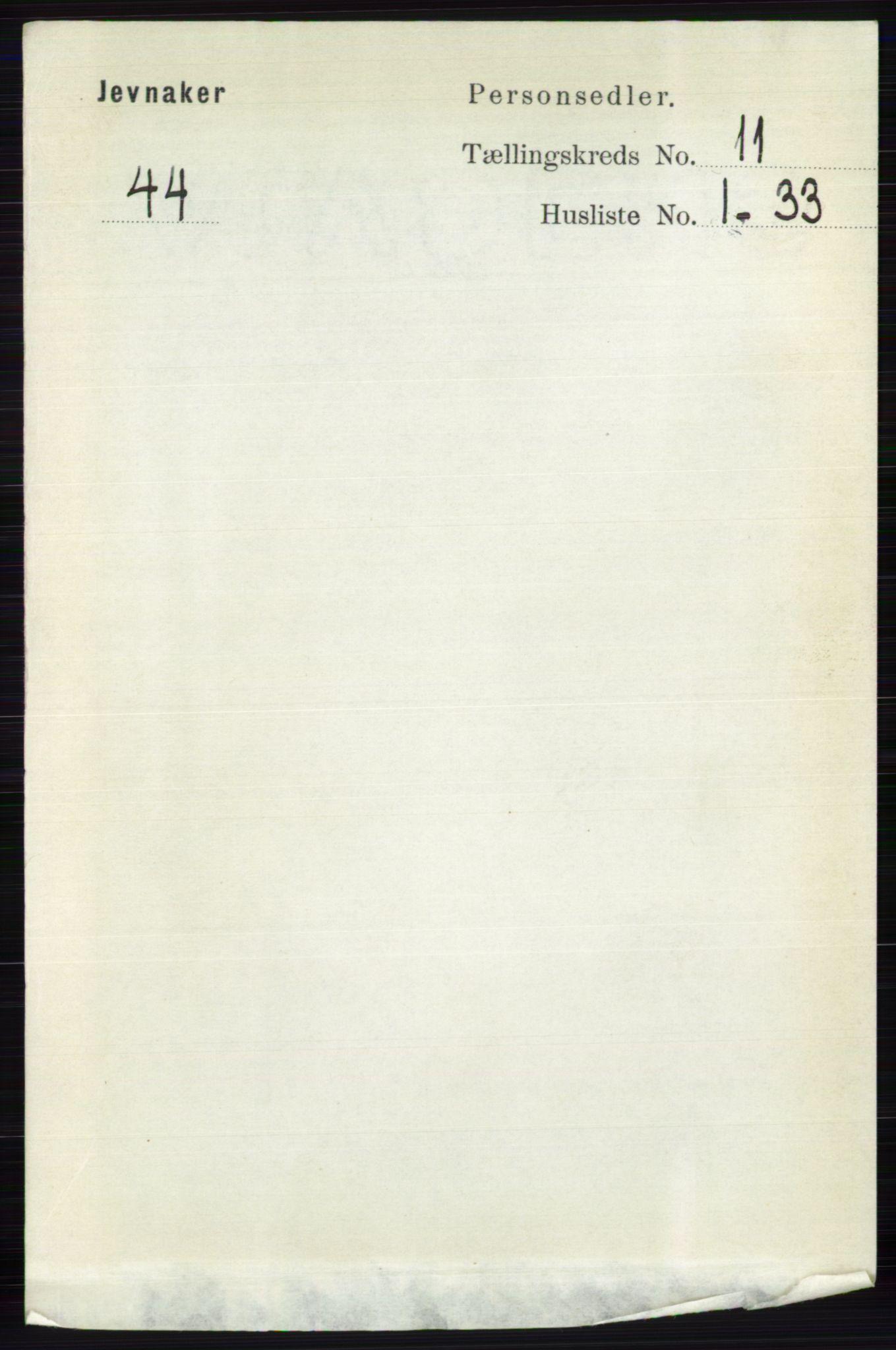 RA, Folketelling 1891 for 0532 Jevnaker herred, 1891, s. 6901