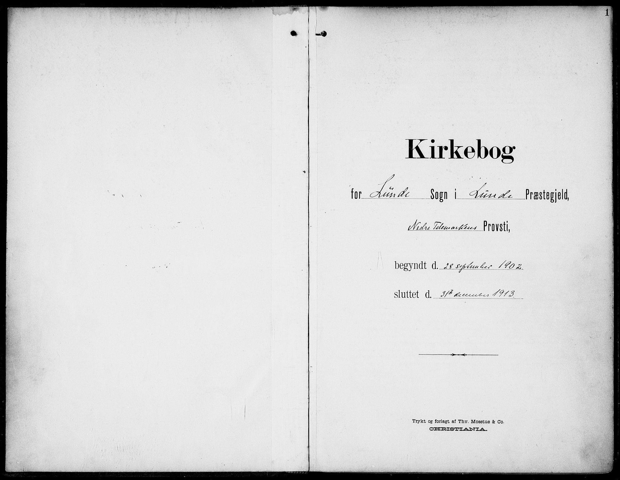 SAKO, Lunde kirkebøker, F/Fa/L0004: Ministerialbok nr. I 4, 1902-1913, s. 1