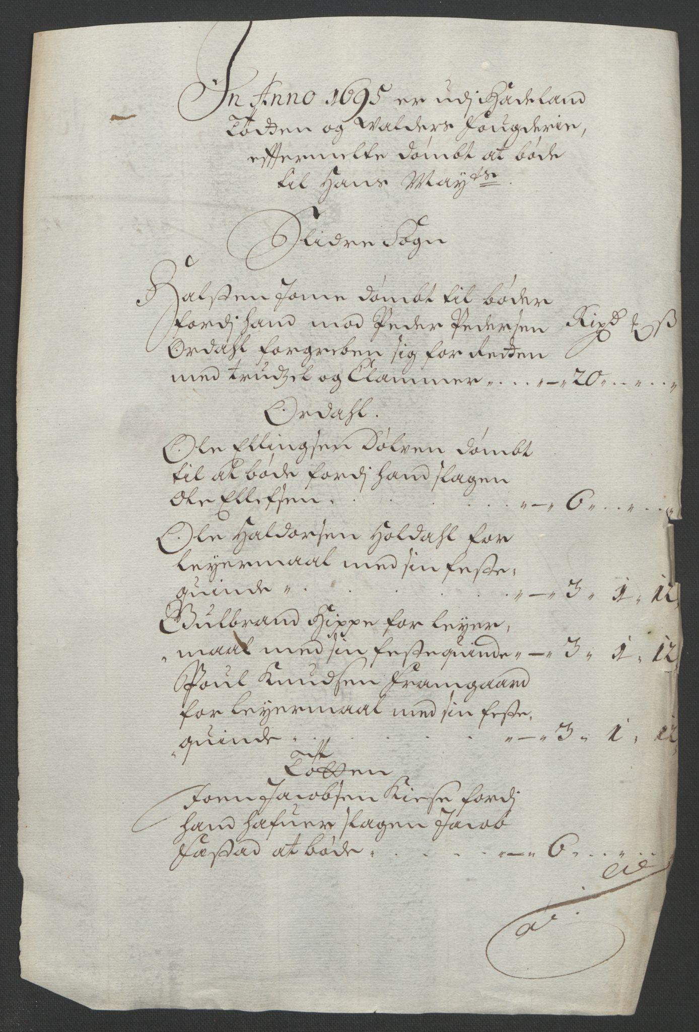 RA, Rentekammeret inntil 1814, Reviderte regnskaper, Fogderegnskap, R18/L1293: Fogderegnskap Hadeland, Toten og Valdres, 1695, s. 61