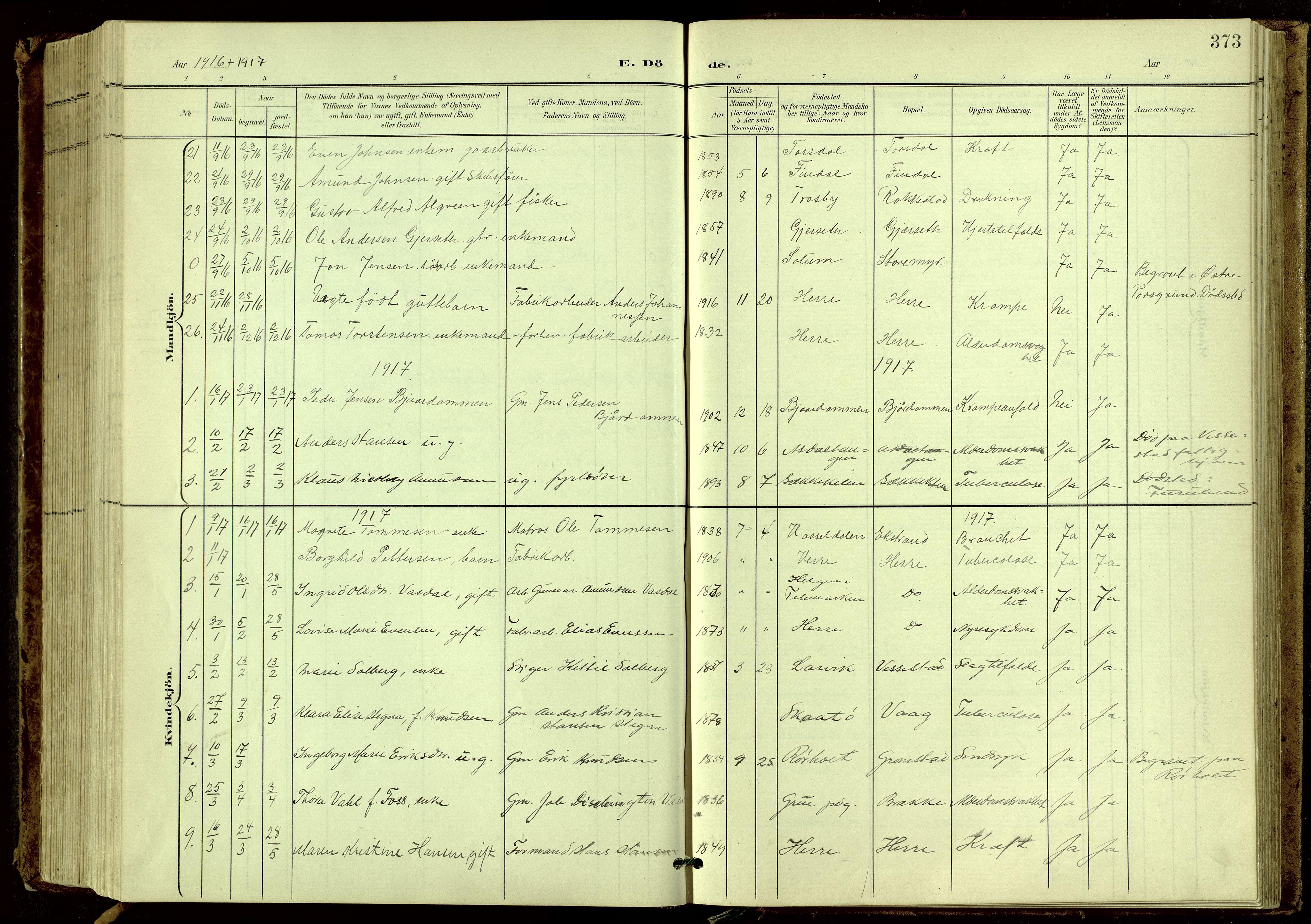 SAKO, Bamble kirkebøker, G/Ga/L0010: Klokkerbok nr. I 10, 1901-1919, s. 373