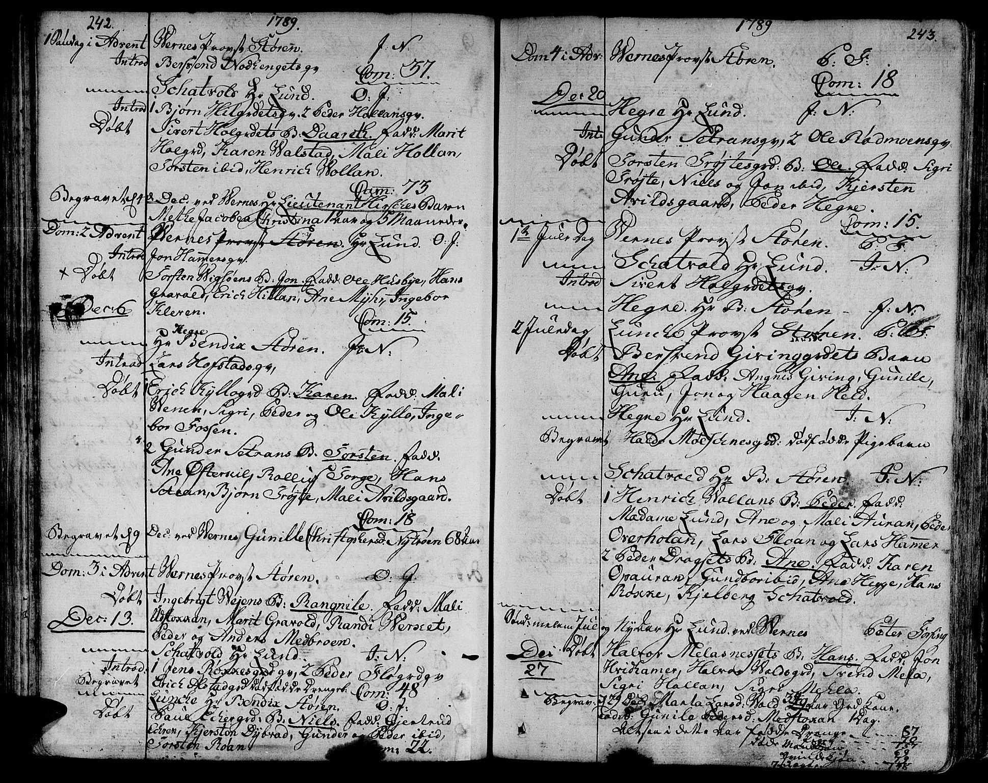 SAT, Ministerialprotokoller, klokkerbøker og fødselsregistre - Nord-Trøndelag, 709/L0059: Ministerialbok nr. 709A06, 1781-1797, s. 242-243