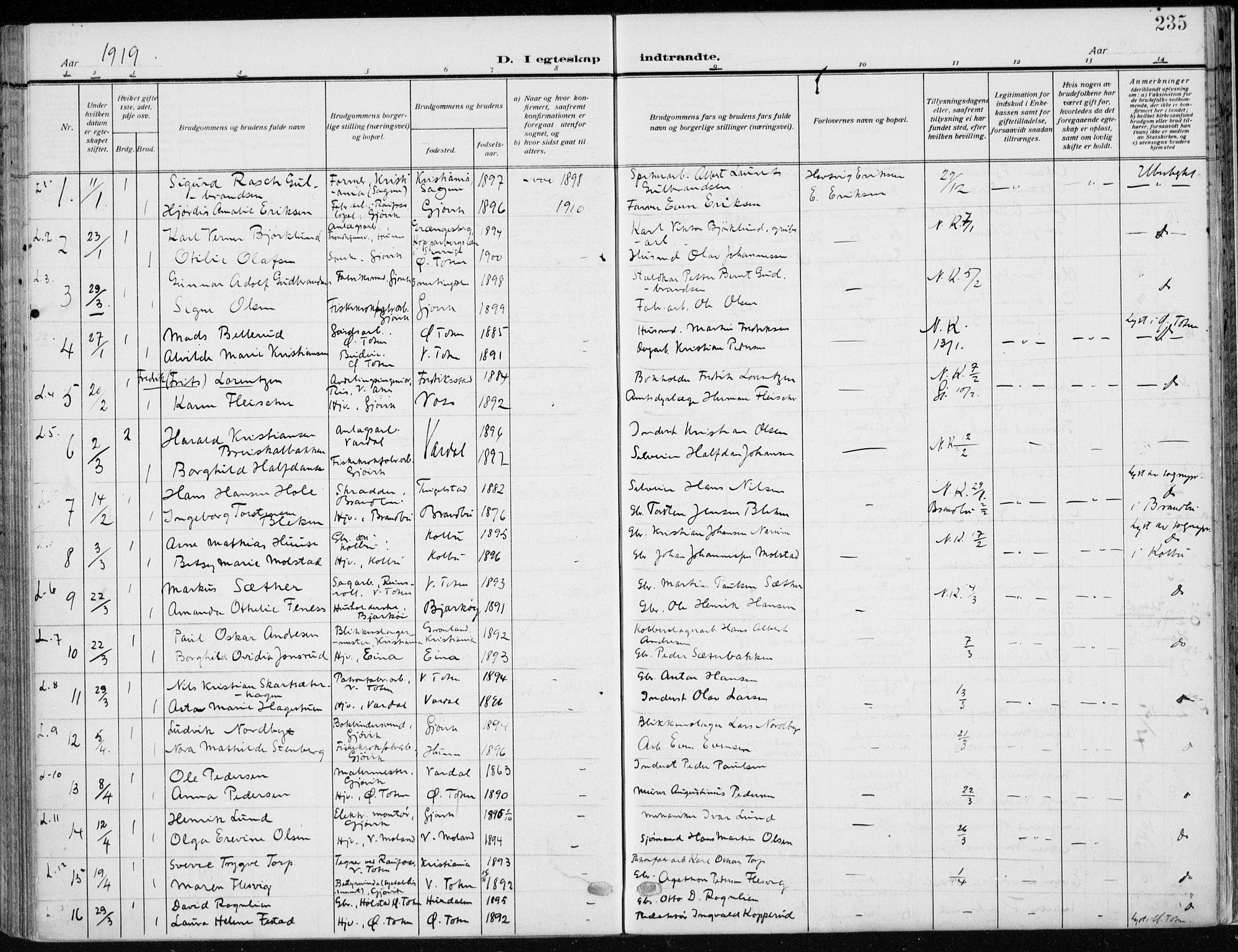 SAH, Vardal prestekontor, H/Ha/Haa/L0014: Ministerialbok nr. 14, 1912-1922, s. 235