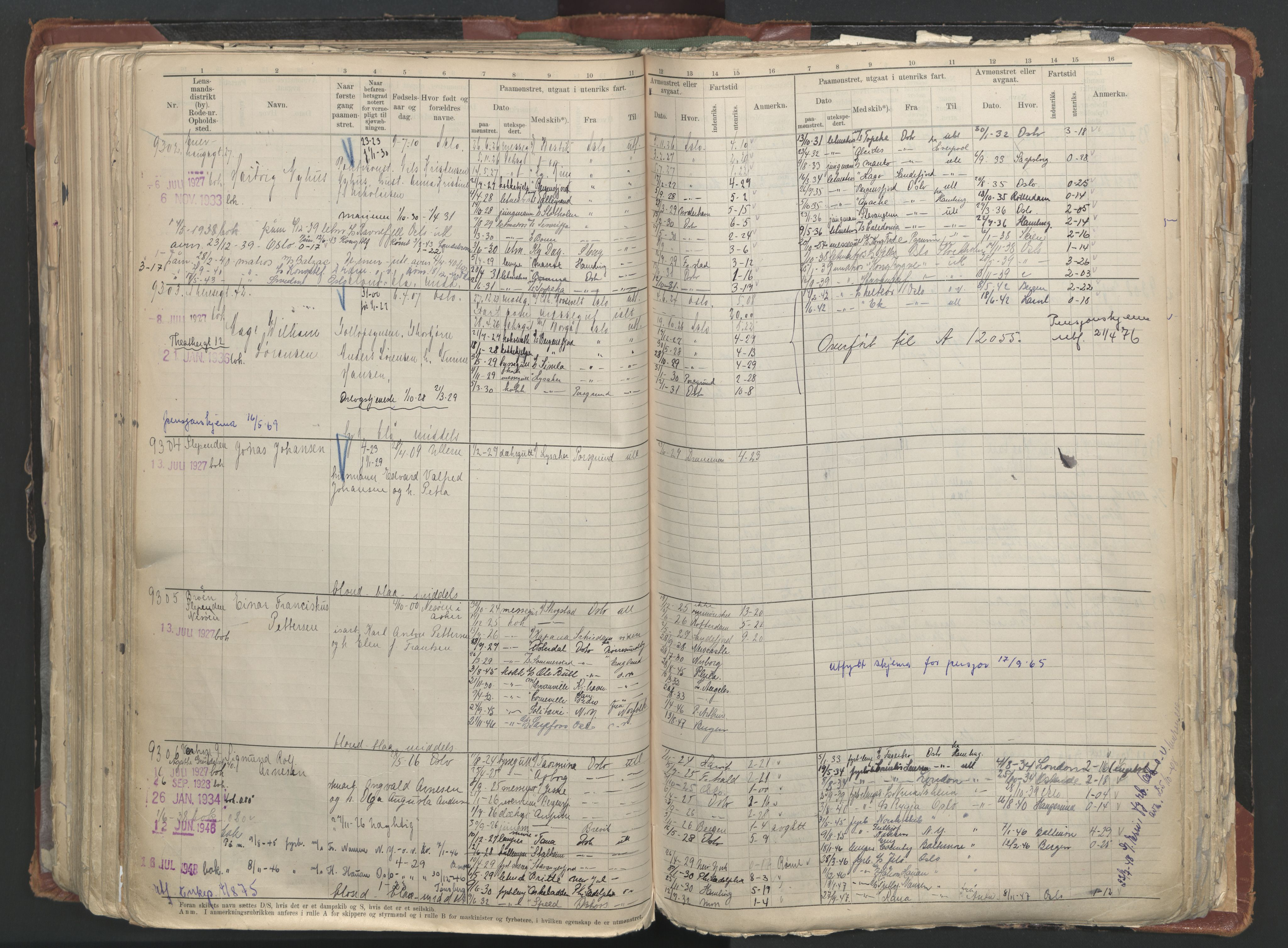 SAO, Oslo sjømannskontor, F/Fc/L0006: Hovedrulle, 1918-1930, s. 354