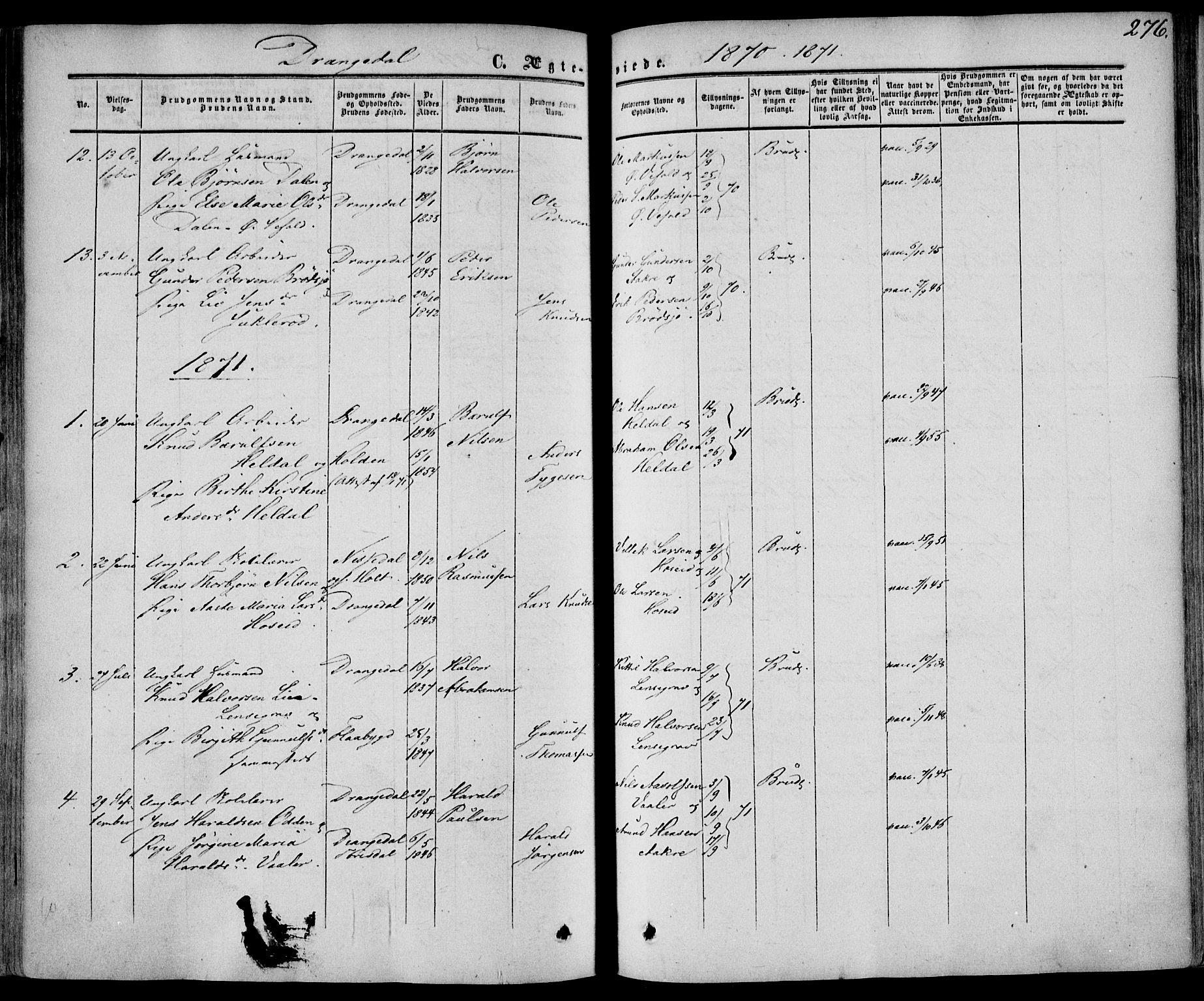 SAKO, Drangedal kirkebøker, F/Fa/L0008: Ministerialbok nr. 8, 1857-1871, s. 276
