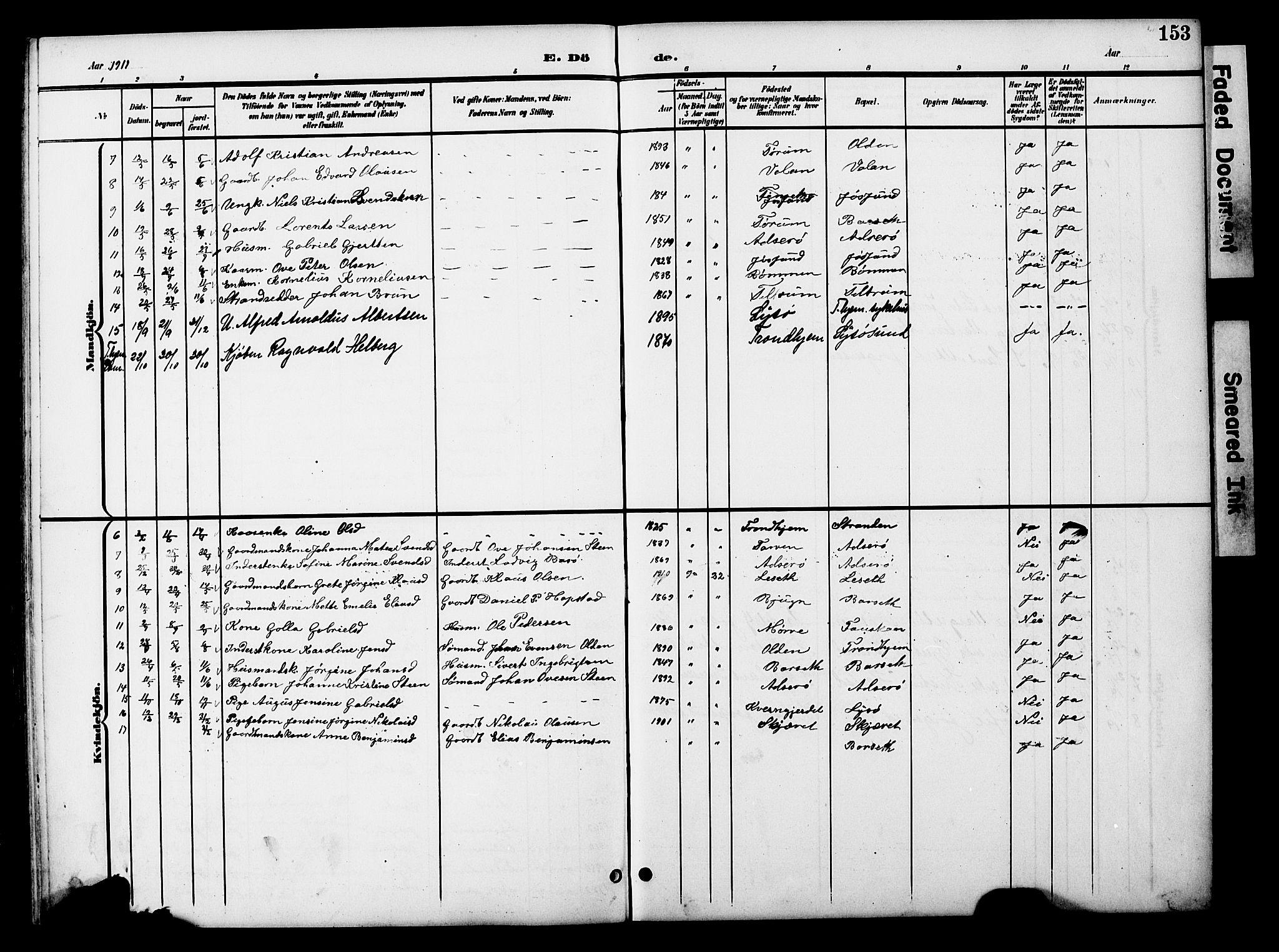 SAT, Ministerialprotokoller, klokkerbøker og fødselsregistre - Sør-Trøndelag, 654/L0666: Klokkerbok nr. 654C02, 1901-1925, s. 153