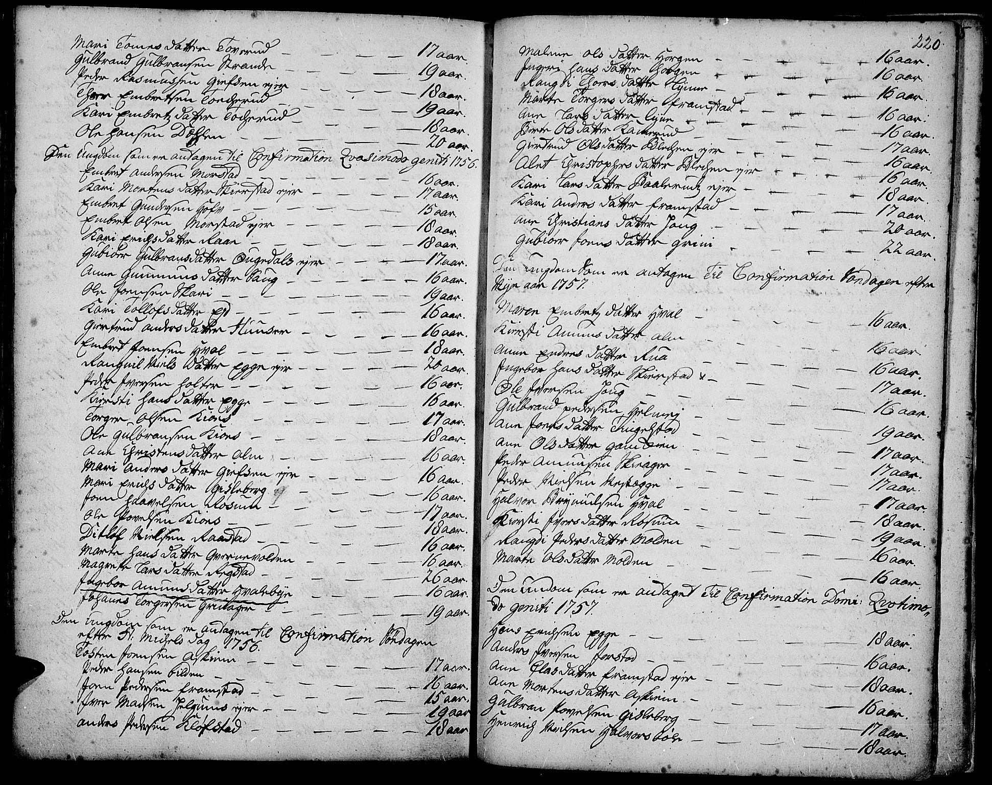 SAH, Gran prestekontor, Ministerialbok nr. 3, 1745-1758, s. 220