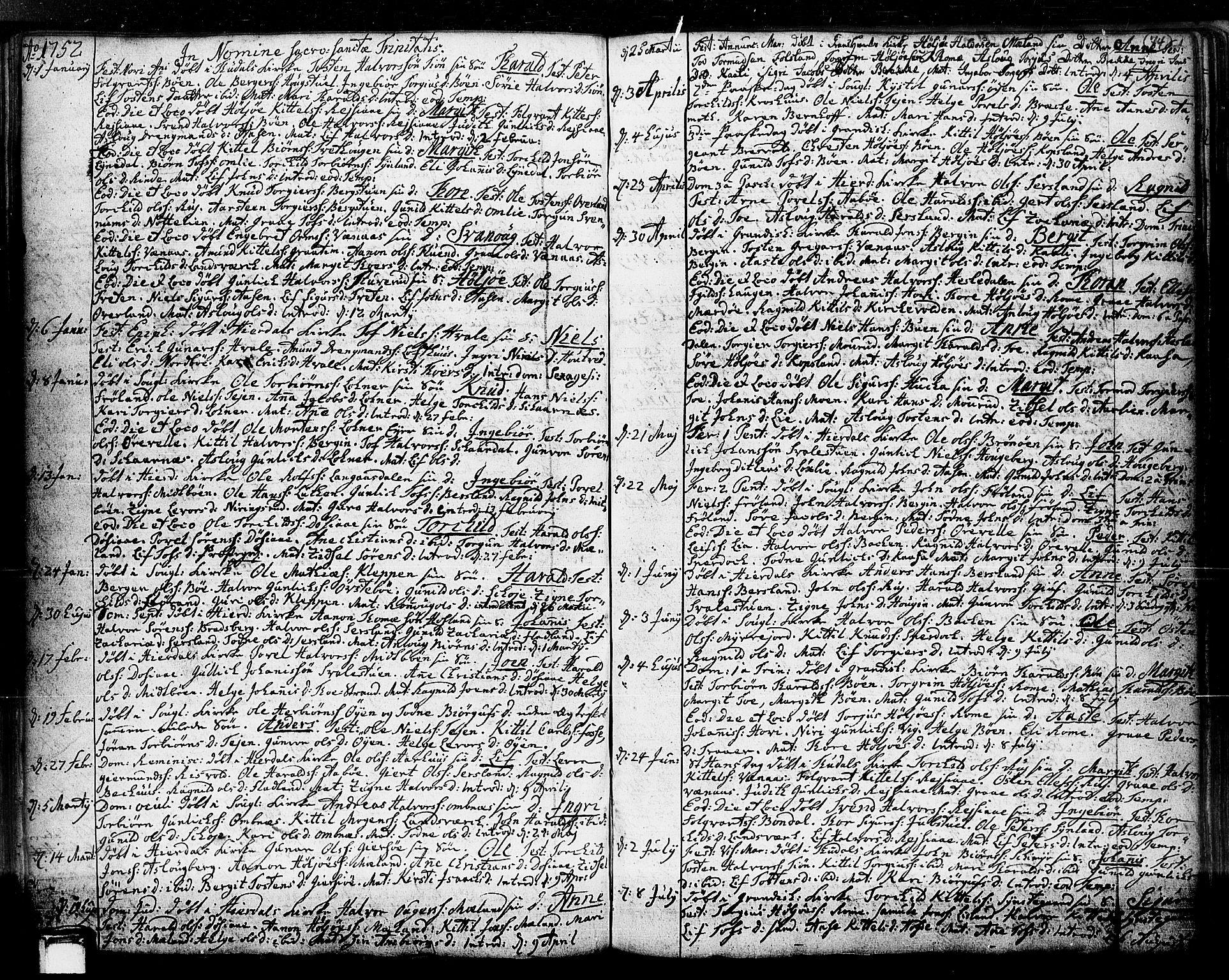 SAKO, Hjartdal kirkebøker, F/Fa/L0003: Ministerialbok nr. I 3, 1727-1775, s. 74