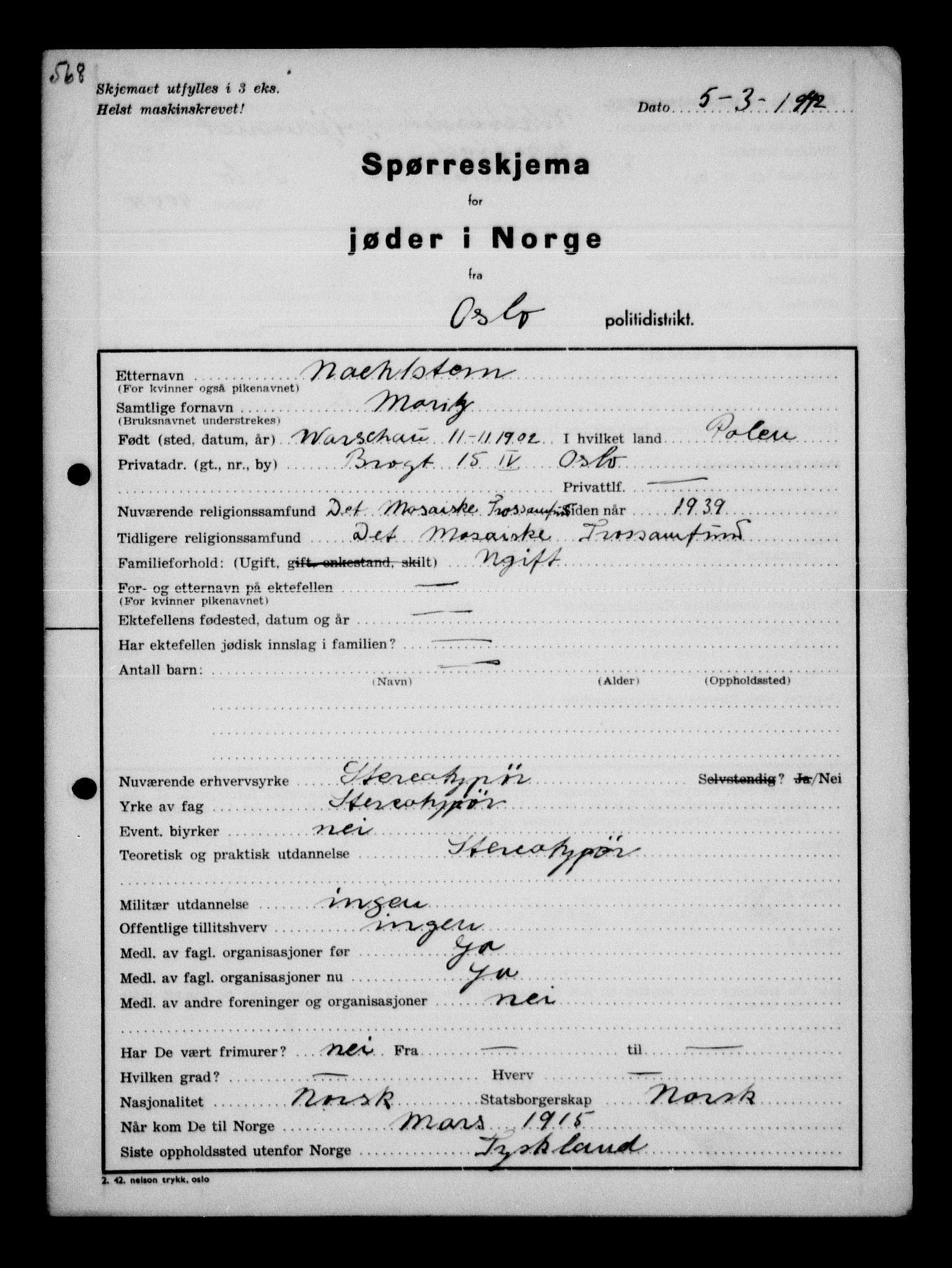 RA, Statspolitiet - Hovedkontoret / Osloavdelingen, G/Ga/L0010: Spørreskjema for jøder i Norge, Oslo Hansen-Pintzow, 1942, s. 304