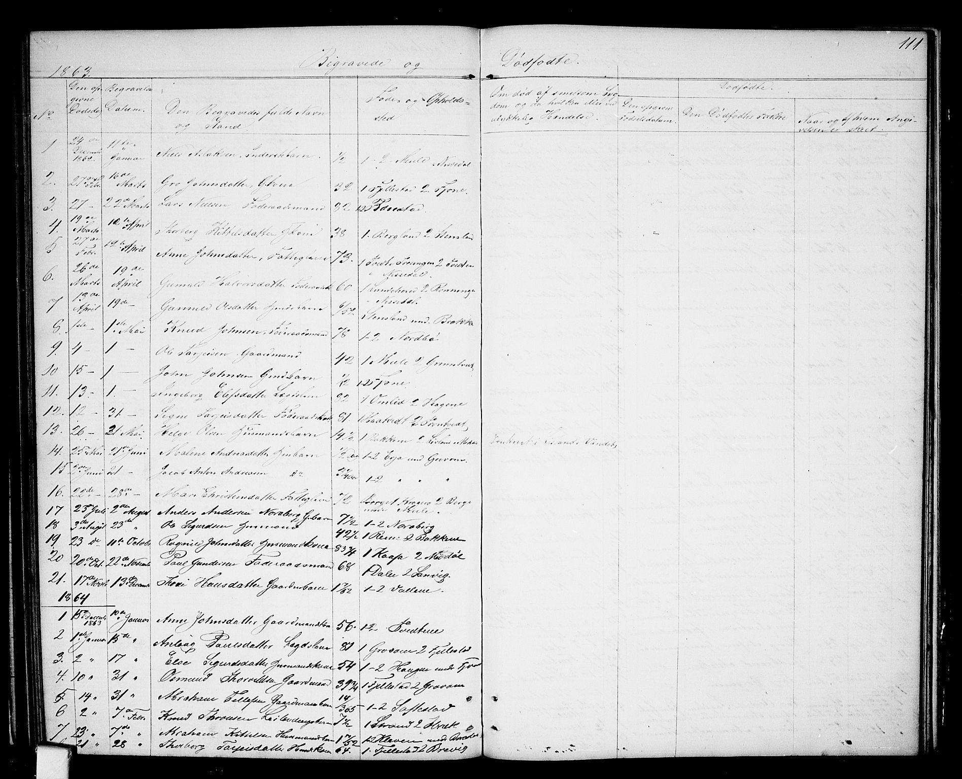 SAKO, Nissedal kirkebøker, G/Ga/L0002: Klokkerbok nr. I 2, 1861-1887, s. 111