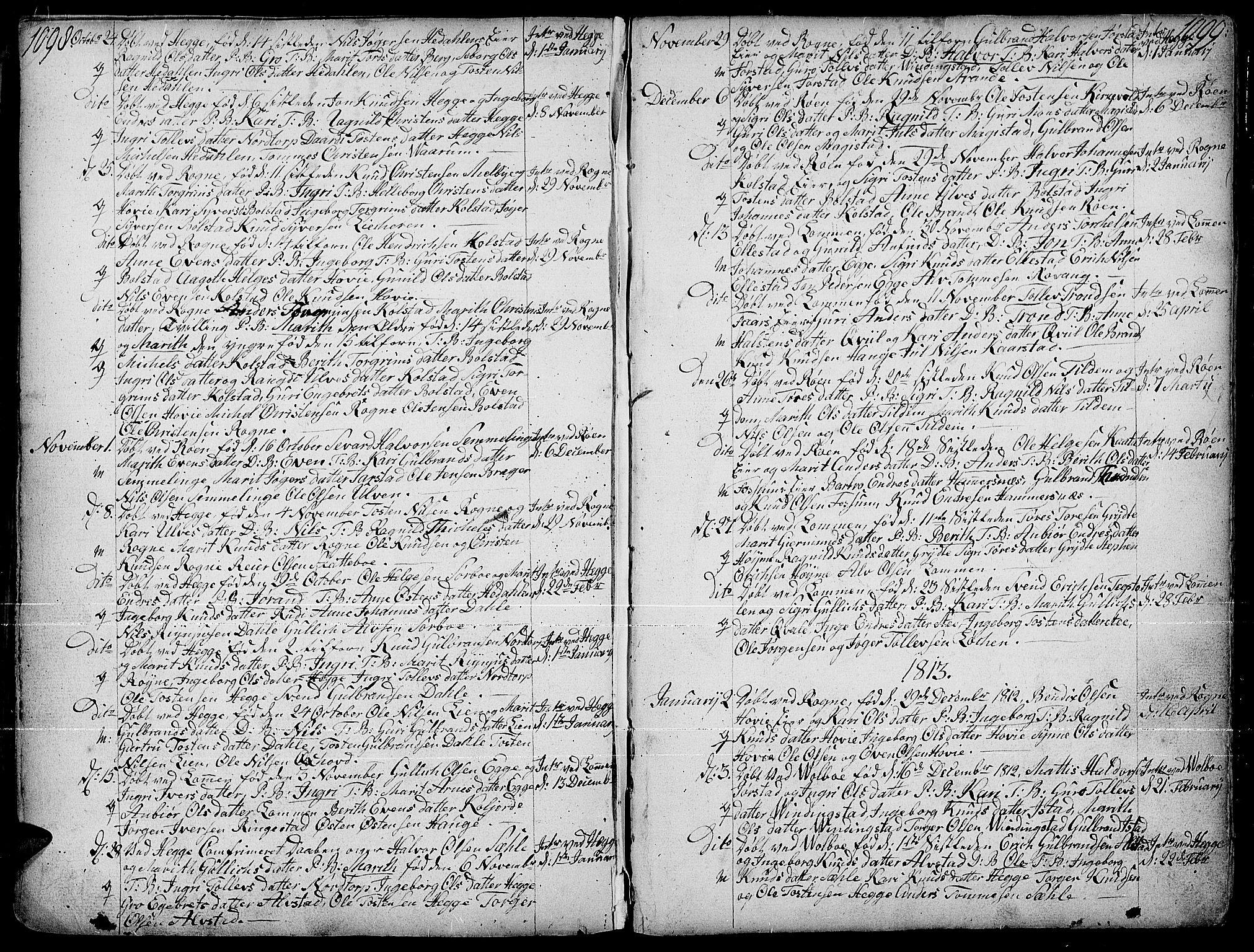 SAH, Slidre prestekontor, Ministerialbok nr. 1, 1724-1814, s. 1098-1099
