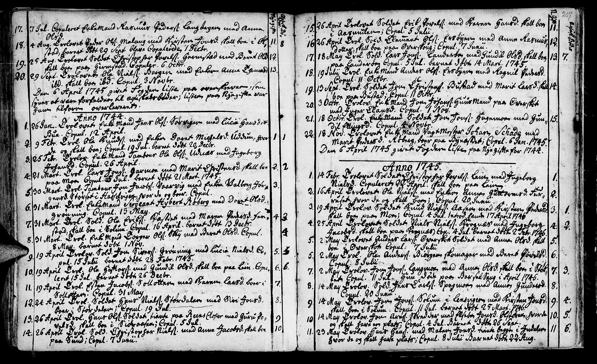 SAT, Ministerialprotokoller, klokkerbøker og fødselsregistre - Sør-Trøndelag, 646/L0604: Ministerialbok nr. 646A02, 1735-1750, s. 206-207