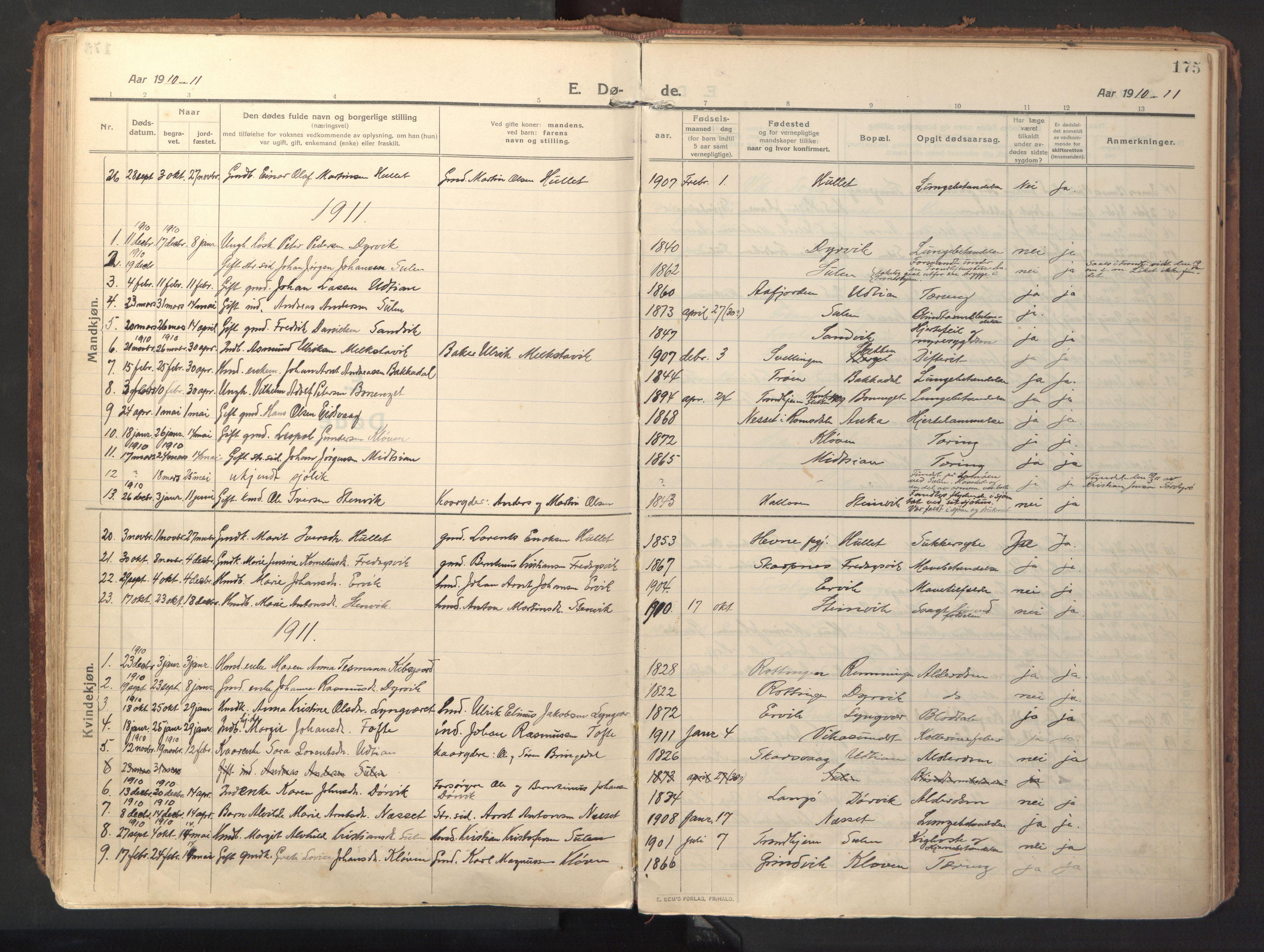 SAT, Ministerialprotokoller, klokkerbøker og fødselsregistre - Sør-Trøndelag, 640/L0581: Ministerialbok nr. 640A06, 1910-1924, s. 175