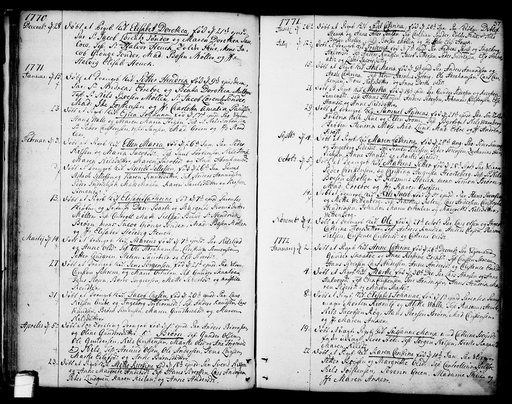 SAKO, Kragerø kirkebøker, F/Fa/L0002: Ministerialbok nr. 2, 1767-1802, s. 37