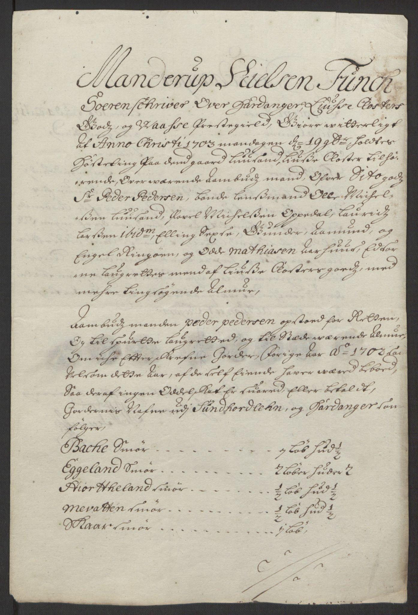 RA, Rentekammeret inntil 1814, Reviderte regnskaper, Fogderegnskap, R50/L3159: Fogderegnskap Lyse kloster, 1691-1709, s. 189