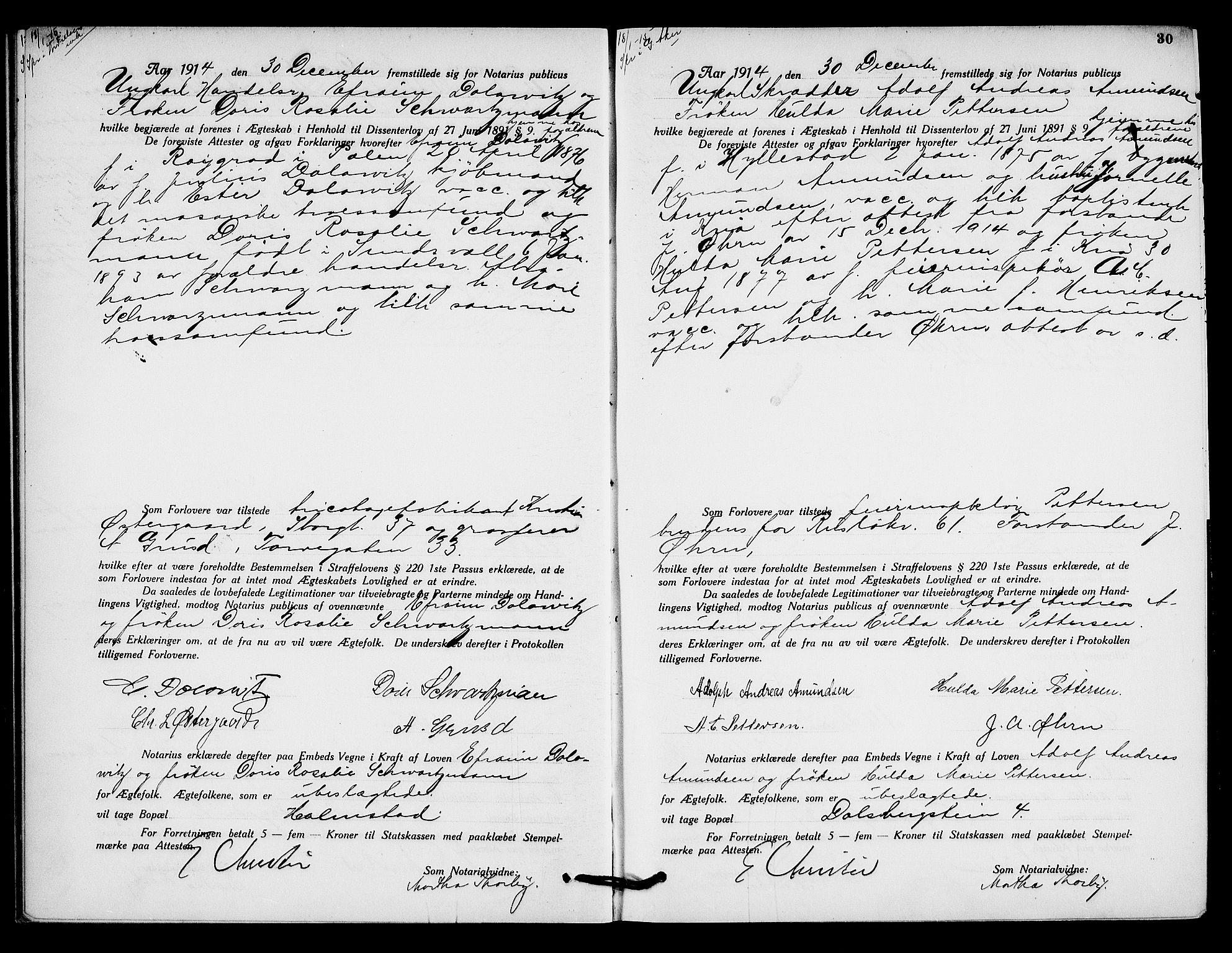 SAO, Oslo byfogd avd. I, L/Lb/Lbb/L0010: Notarialprotokoll, rekke II: Vigsler, 1914-1916, s. 29b-30a