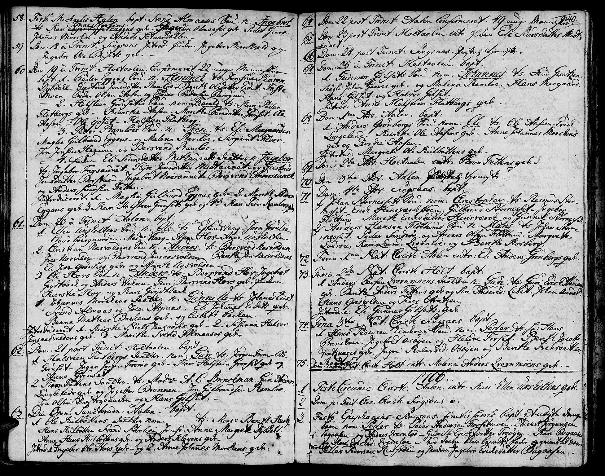 SAT, Ministerialprotokoller, klokkerbøker og fødselsregistre - Sør-Trøndelag, 685/L0952: Ministerialbok nr. 685A01, 1745-1804, s. 49