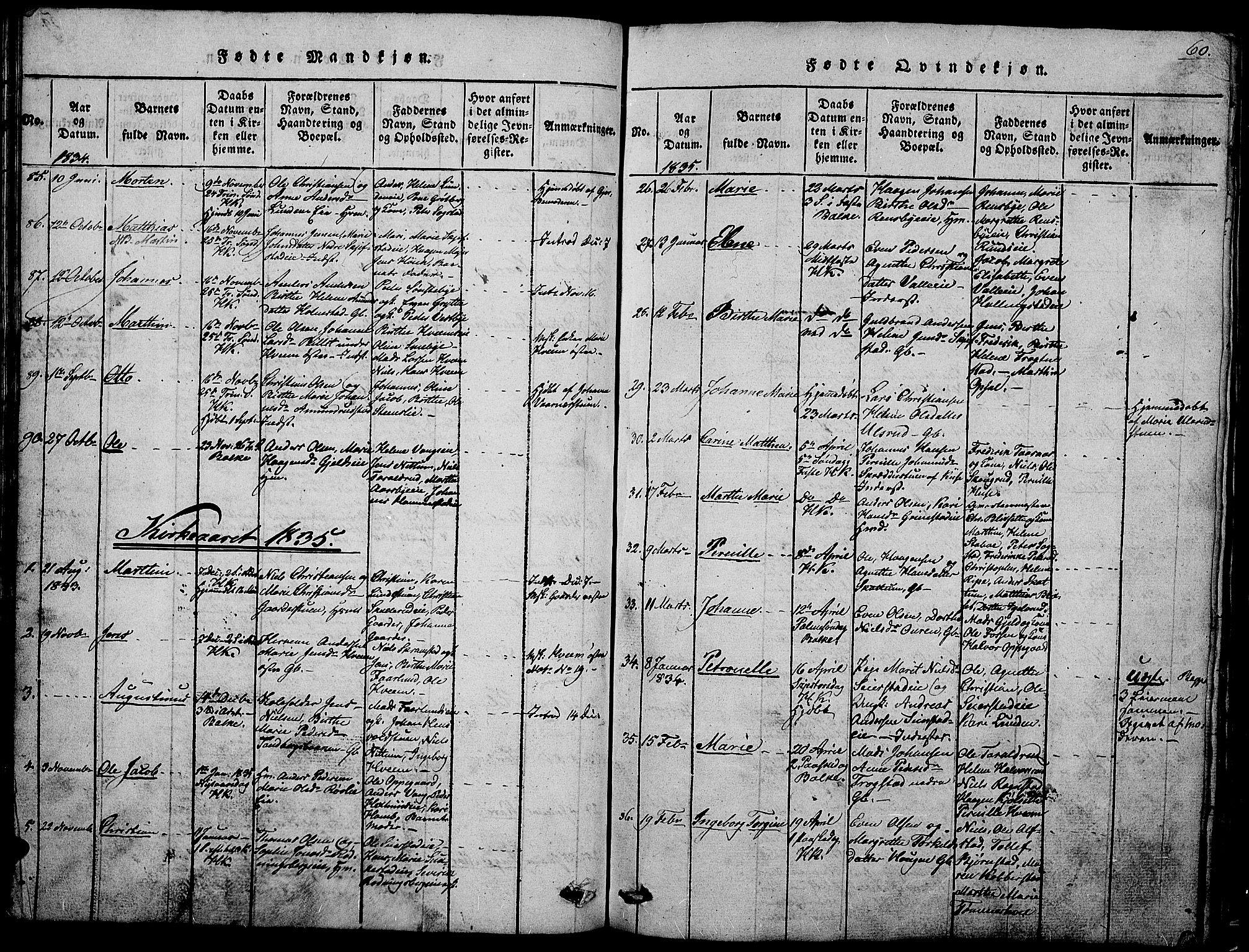 SAH, Østre Toten prestekontor, Klokkerbok nr. 1, 1827-1839, s. 60