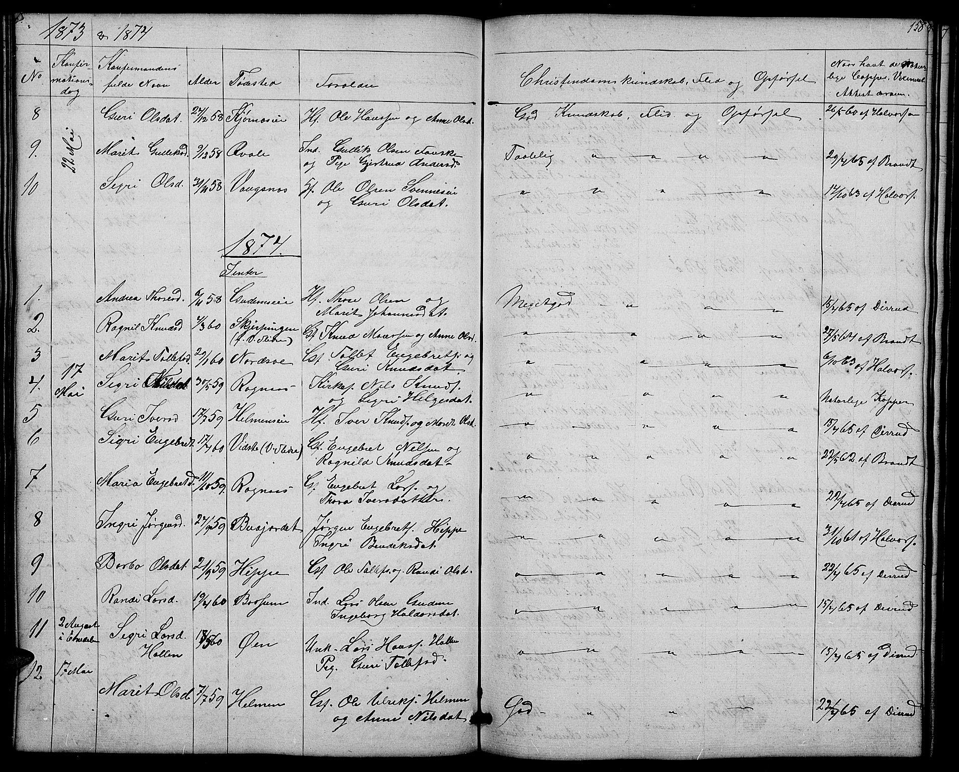 SAH, Nord-Aurdal prestekontor, Klokkerbok nr. 4, 1842-1882, s. 158
