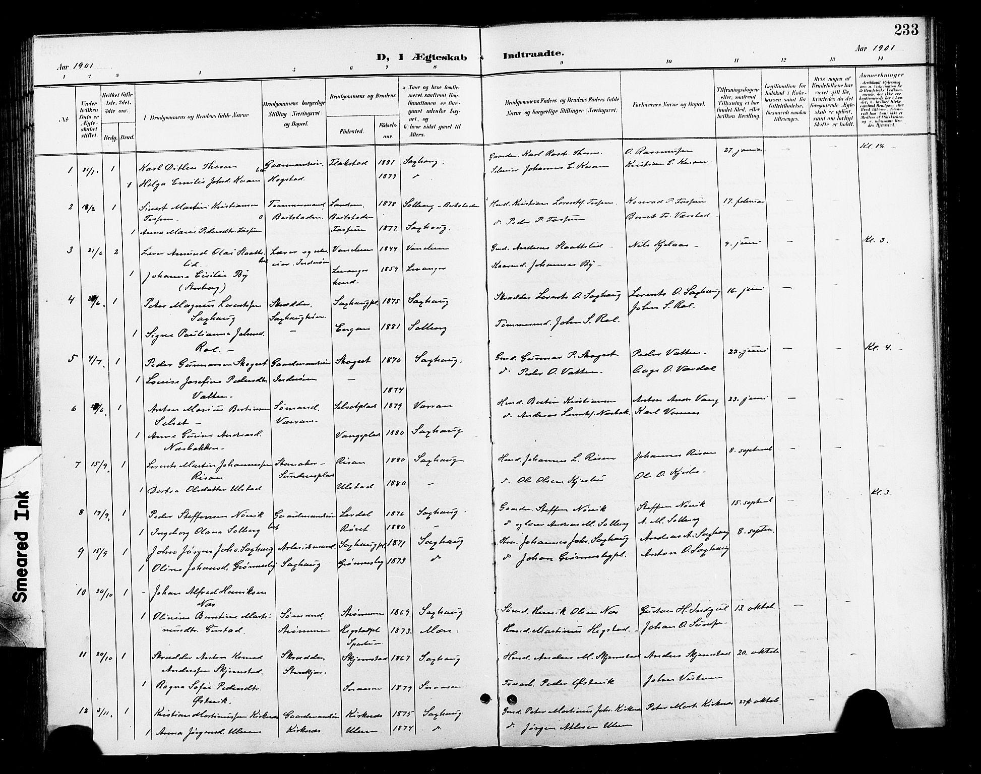 SAT, Ministerialprotokoller, klokkerbøker og fødselsregistre - Nord-Trøndelag, 730/L0302: Klokkerbok nr. 730C05, 1898-1924, s. 233