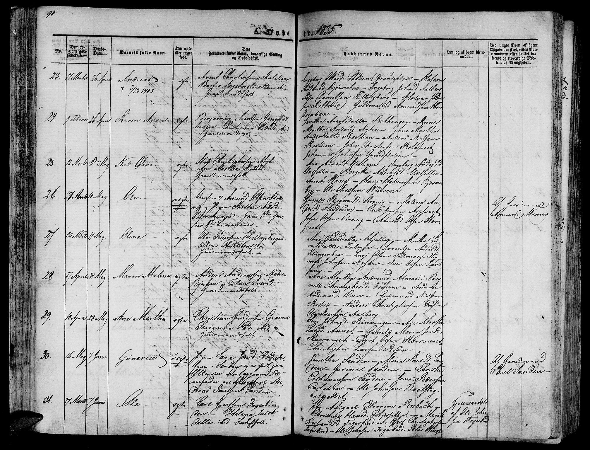 SAT, Ministerialprotokoller, klokkerbøker og fødselsregistre - Nord-Trøndelag, 701/L0006: Ministerialbok nr. 701A06, 1825-1841, s. 94