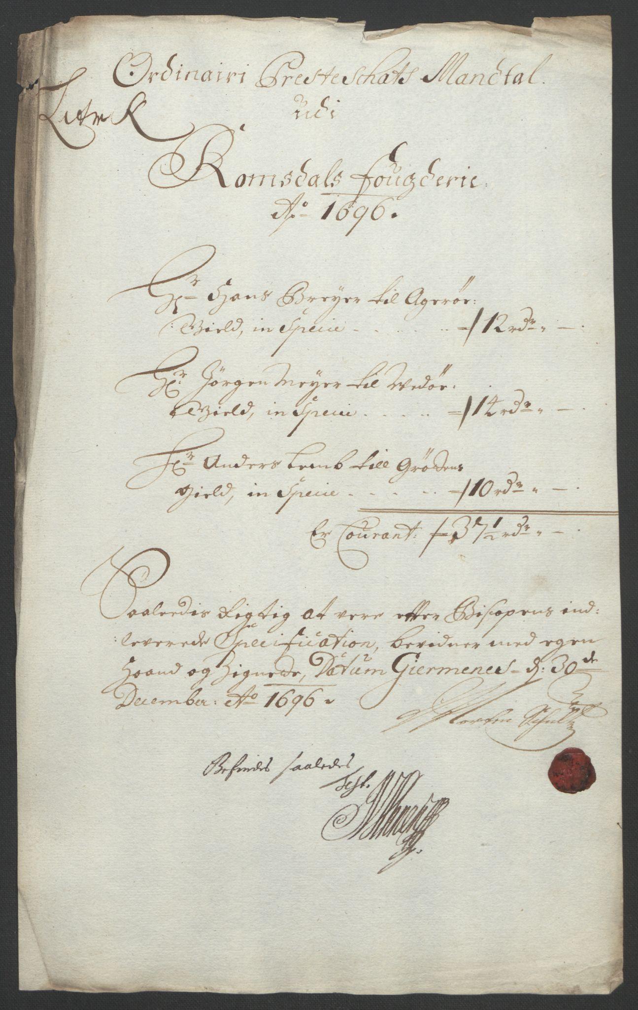 RA, Rentekammeret inntil 1814, Reviderte regnskaper, Fogderegnskap, R55/L3652: Fogderegnskap Romsdal, 1695-1696, s. 256