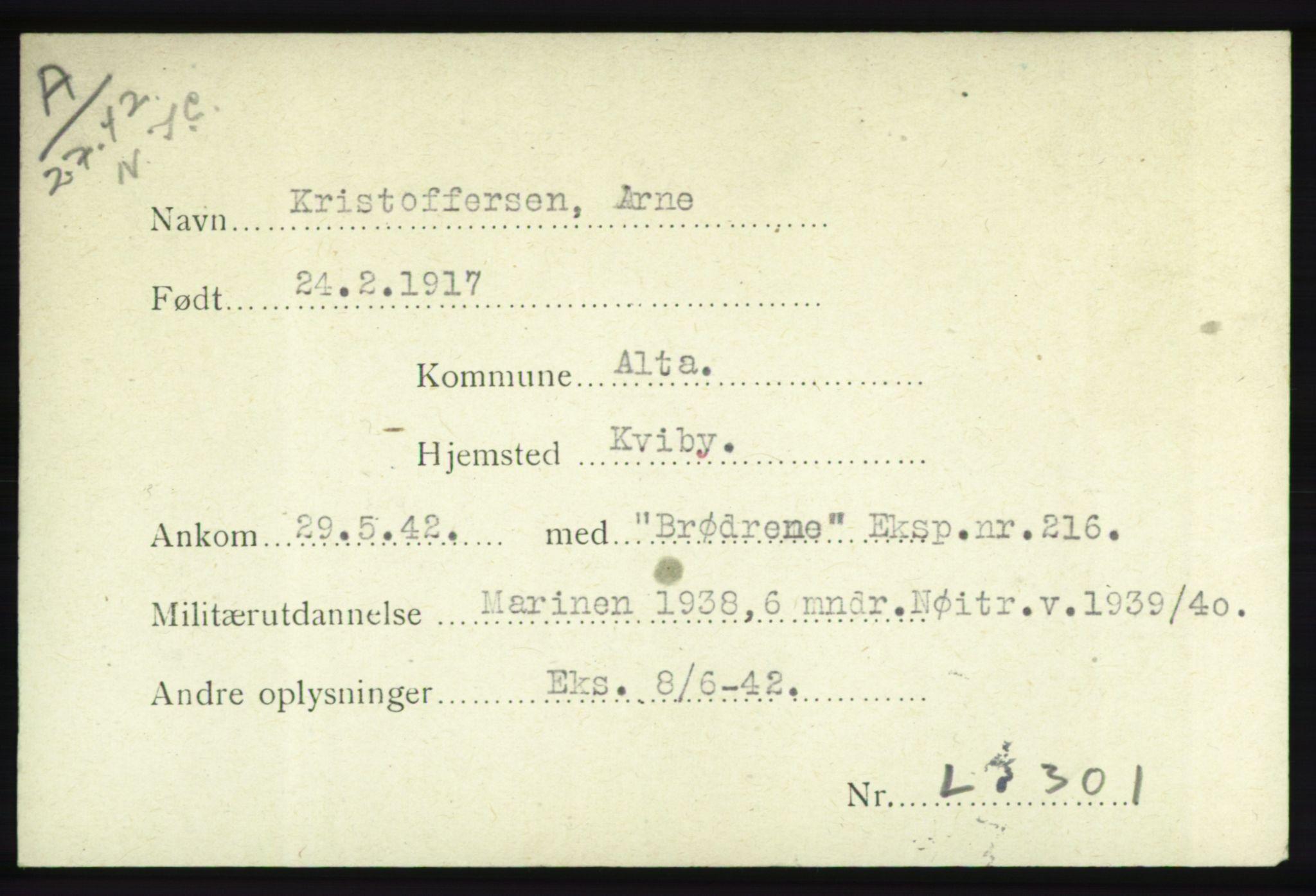 NHM, Forsvarets Overkommando. 2. kontor. Arkiv 8.1. Mottakersentralen FDE og FO.II, P/Pa/L0012: Kortsamling, 1940-1945, s. 2