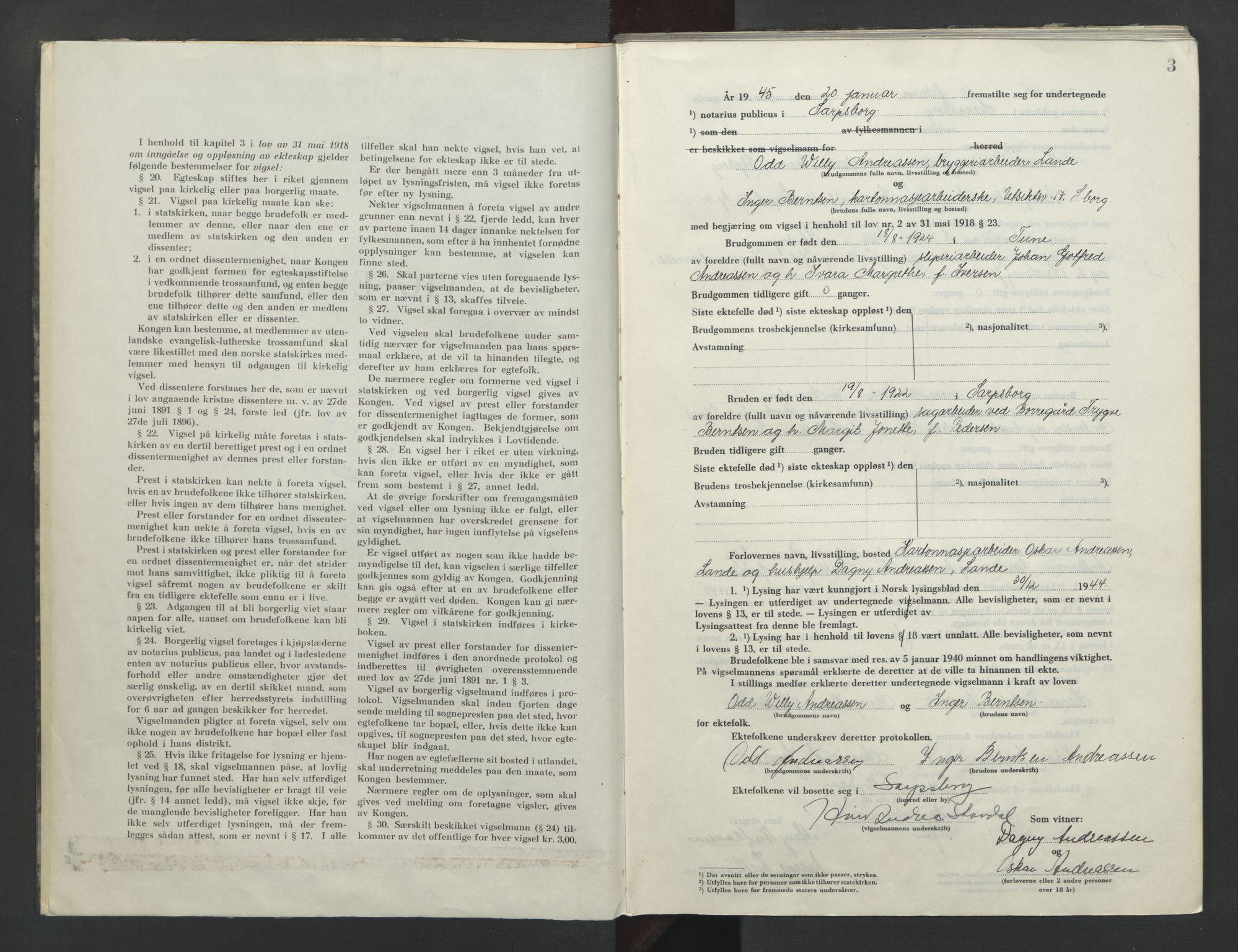 SAO, Sarpsborg byfogd, L/Lb/Lba/L0004: Vigselbok, 1945-1952, s. 2-3