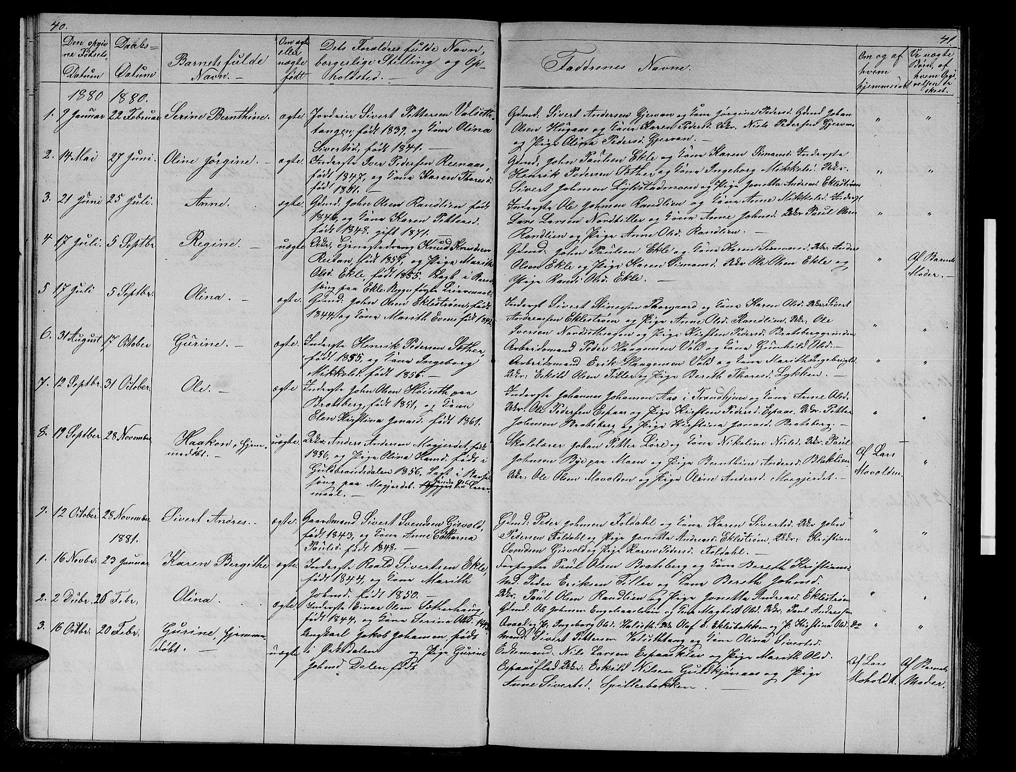 SAT, Ministerialprotokoller, klokkerbøker og fødselsregistre - Sør-Trøndelag, 608/L0340: Klokkerbok nr. 608C06, 1864-1889, s. 40-41