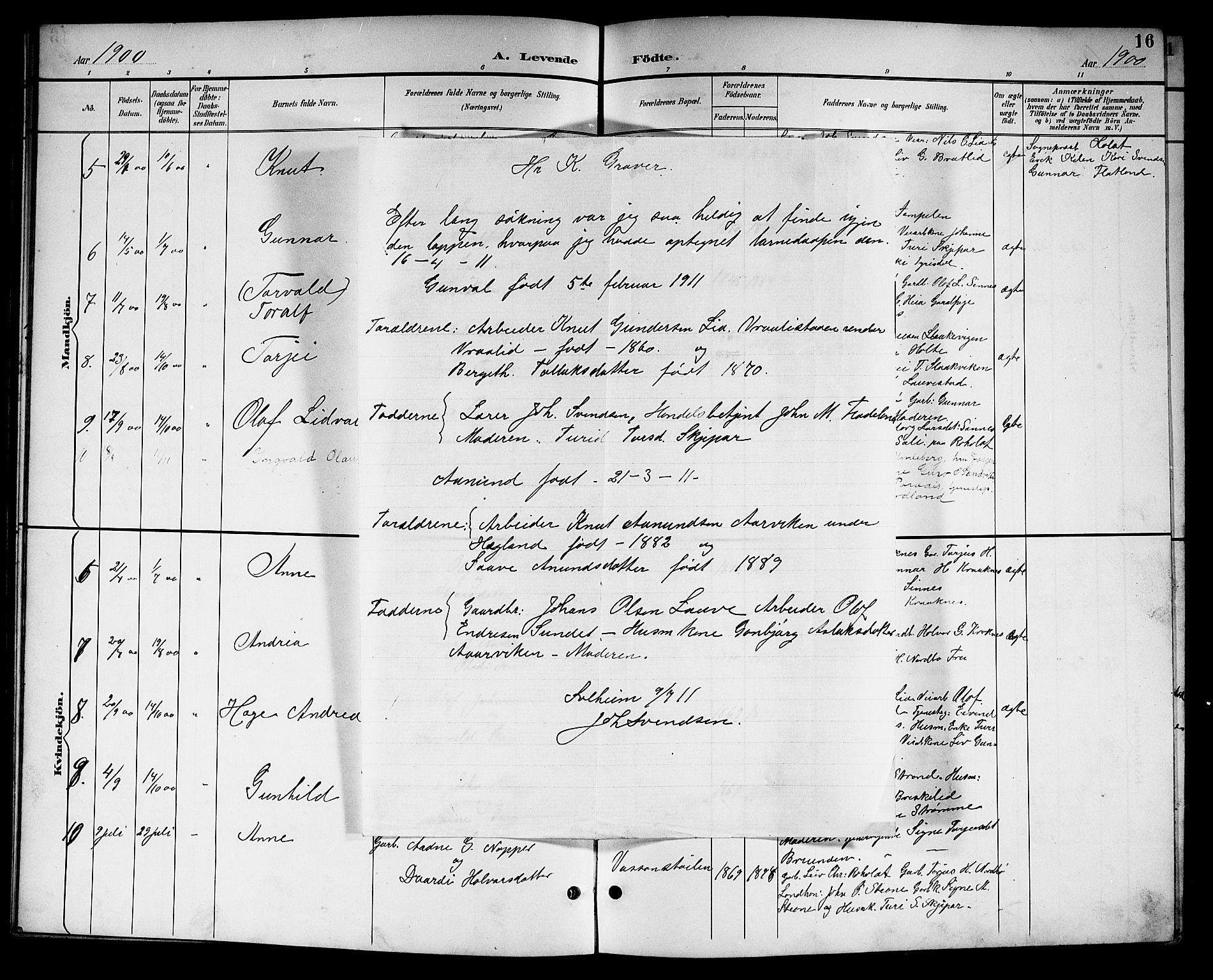 SAKO, Kviteseid kirkebøker, G/Gc/L0001: Klokkerbok nr. III 1, 1893-1916, s. 16