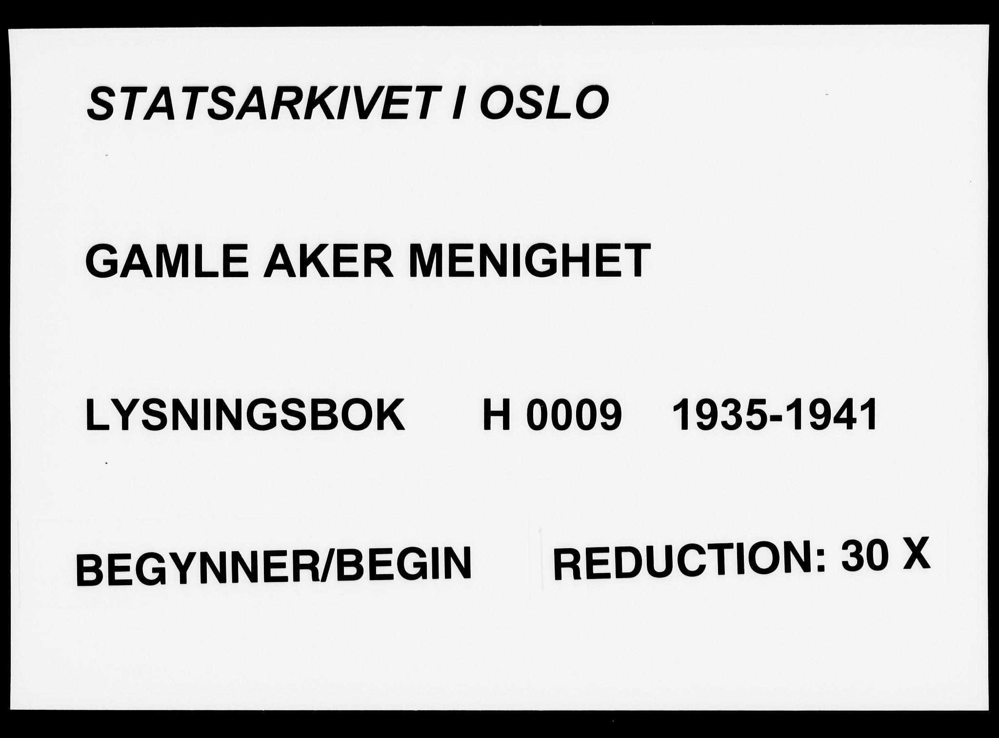 SAO, Gamle Aker prestekontor Kirkebøker, H/L0009: Lysningsprotokoll nr. 9, 1935-1941