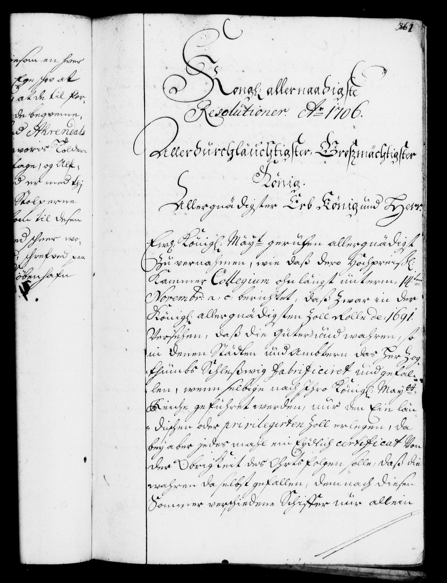 RA, Rentekammeret, Kammerkanselliet, G/Gf/Gfa/L0001: Resolusjonsprotokoll med register (merket RK 52.1), 1695-1706, s. 361