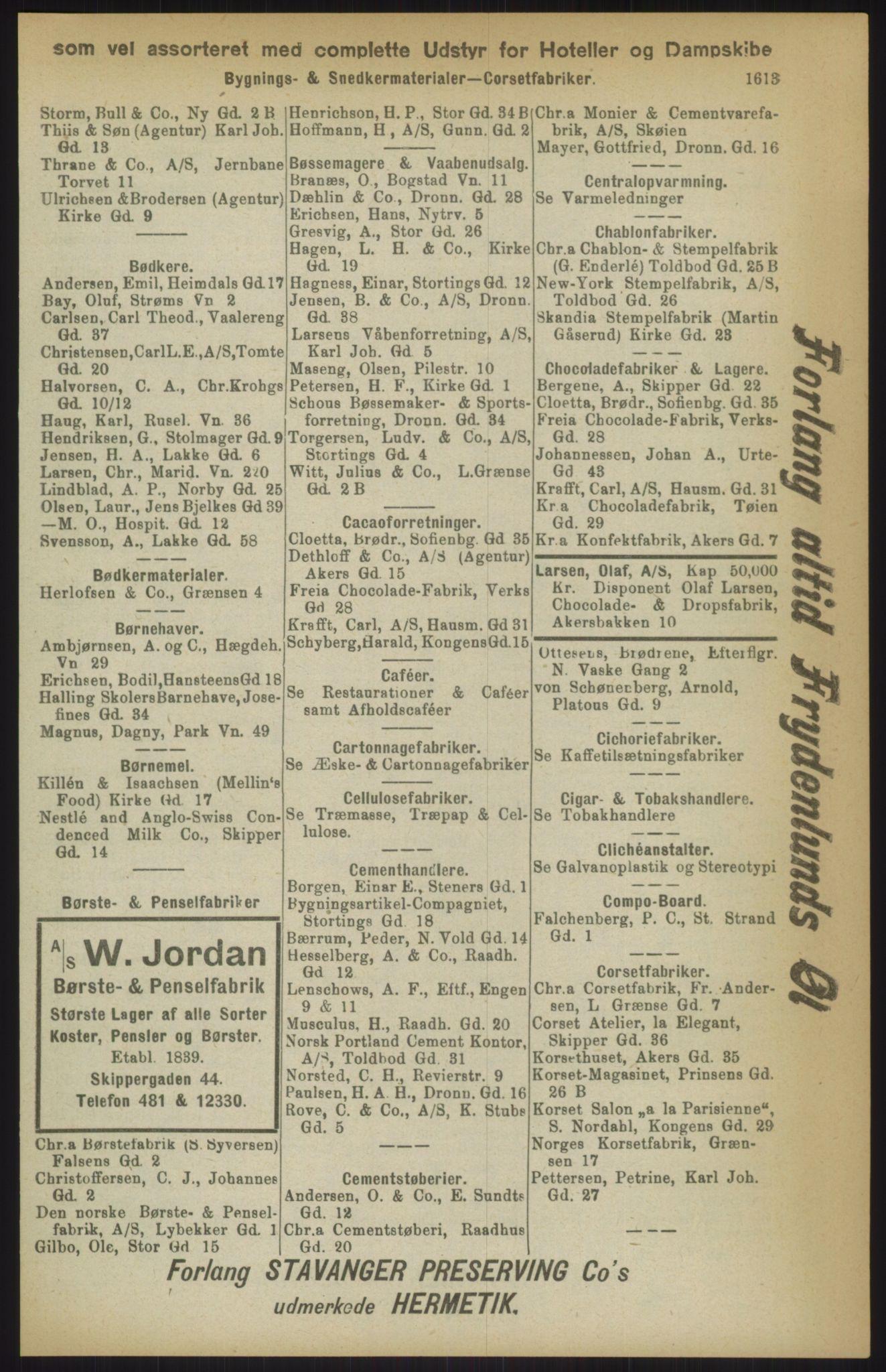 RA, Kristiania adressebok (publikasjon)*, 1911, s. 1613