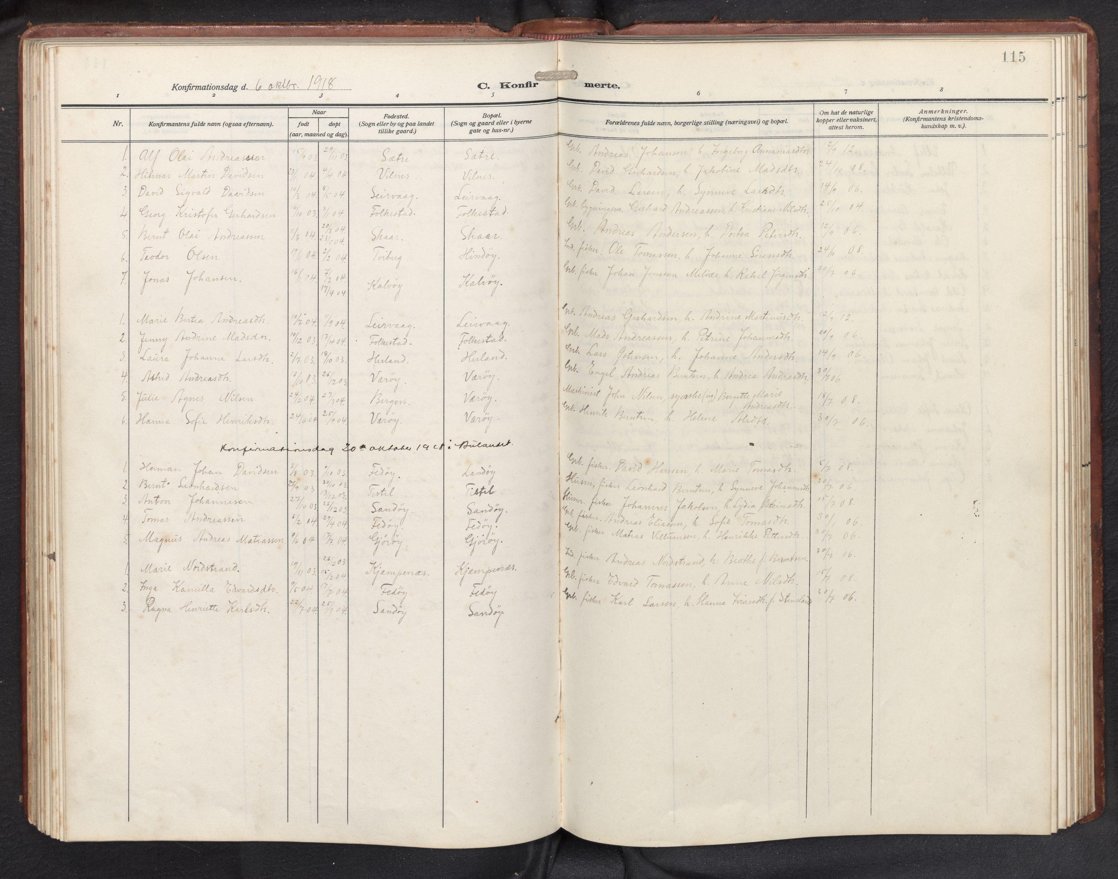 SAB, Askvoll sokneprestembete, H/Hab/Habb/L0002: Klokkerbok nr. B 2, 1910-1947, s. 114b-115a
