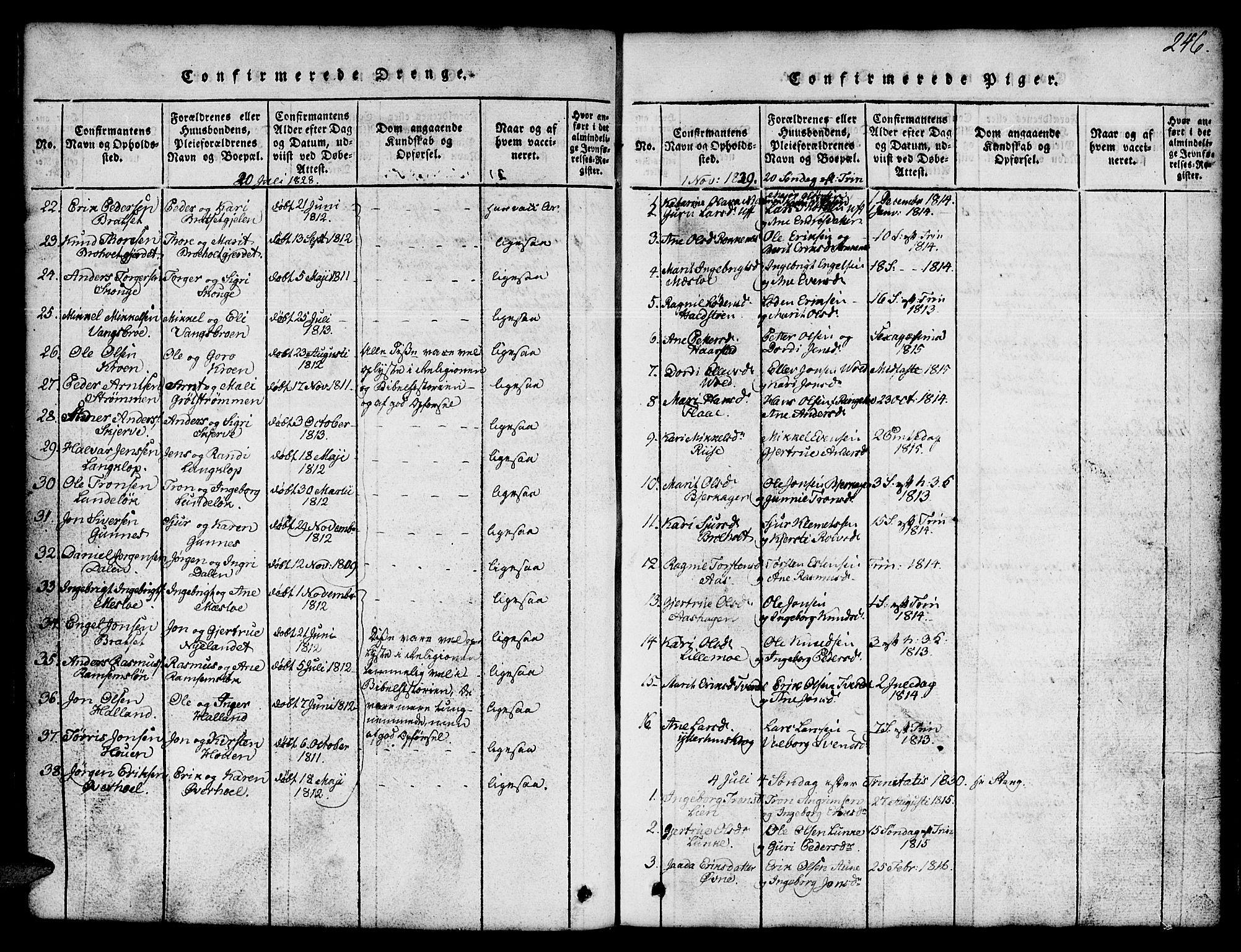 SAT, Ministerialprotokoller, klokkerbøker og fødselsregistre - Sør-Trøndelag, 674/L0874: Klokkerbok nr. 674C01, 1816-1860, s. 246