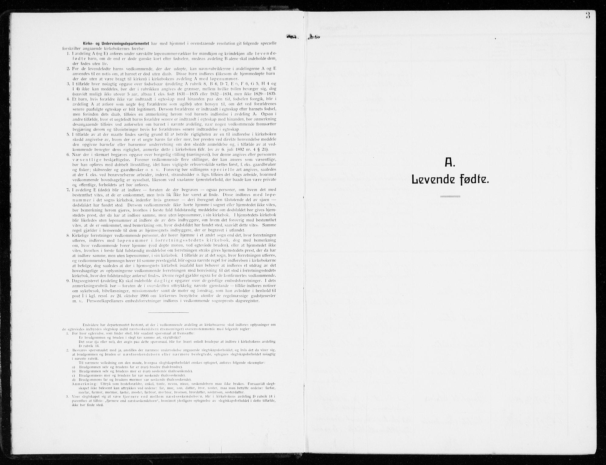 SAO, Kråkerøy prestekontor Kirkebøker, G/Ga/L0001: Klokkerbok nr. 1, 1908-1944, s. 3